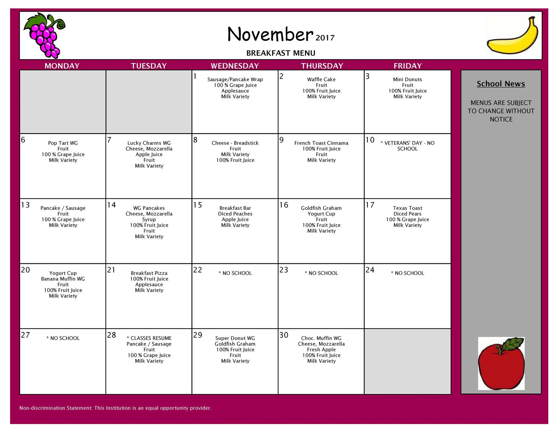 November Breakfast Menu- All Buildings