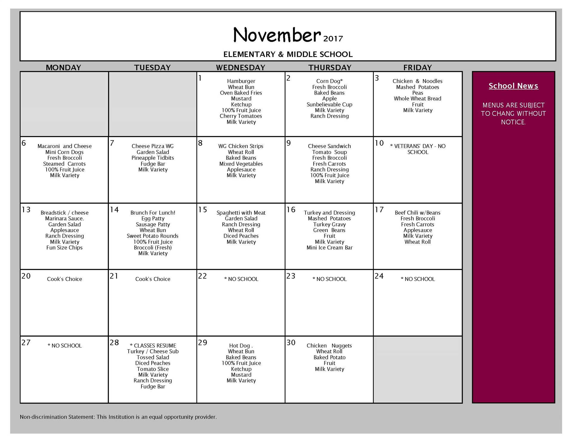 November Lunch - Elementary and Middle School