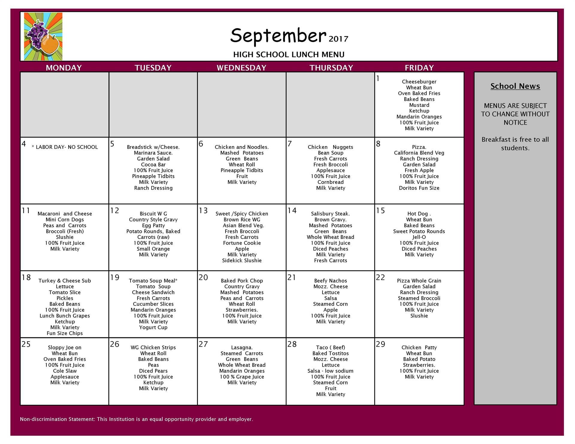 September Lunch - High School