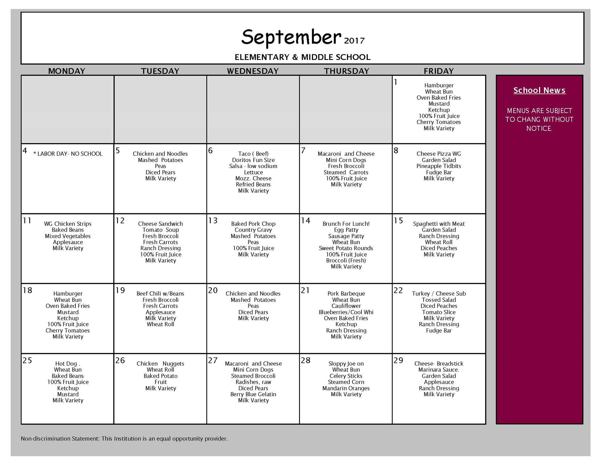 September Lunch - Middle and Elementary Schools