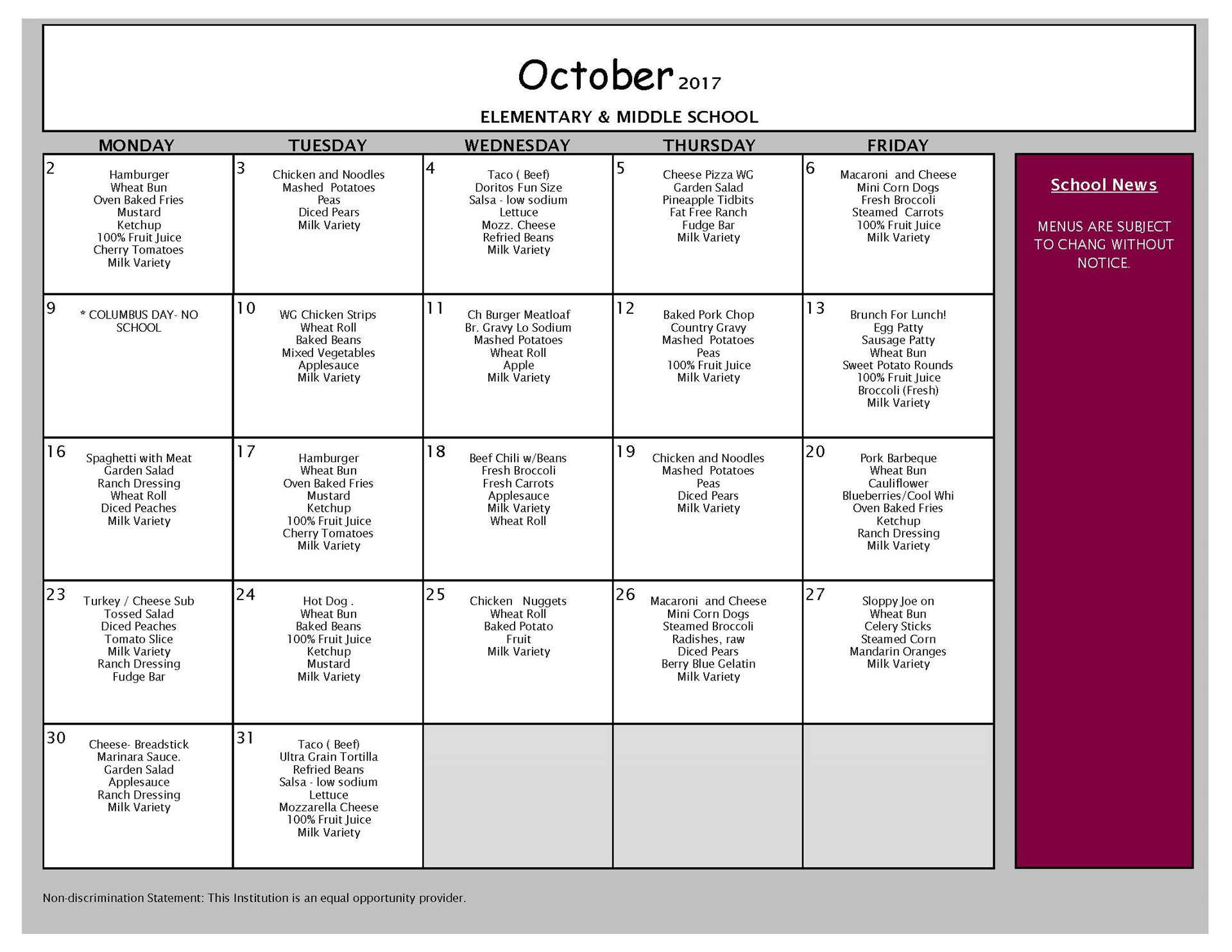 October Lunch Menu - Middle School and Elementary