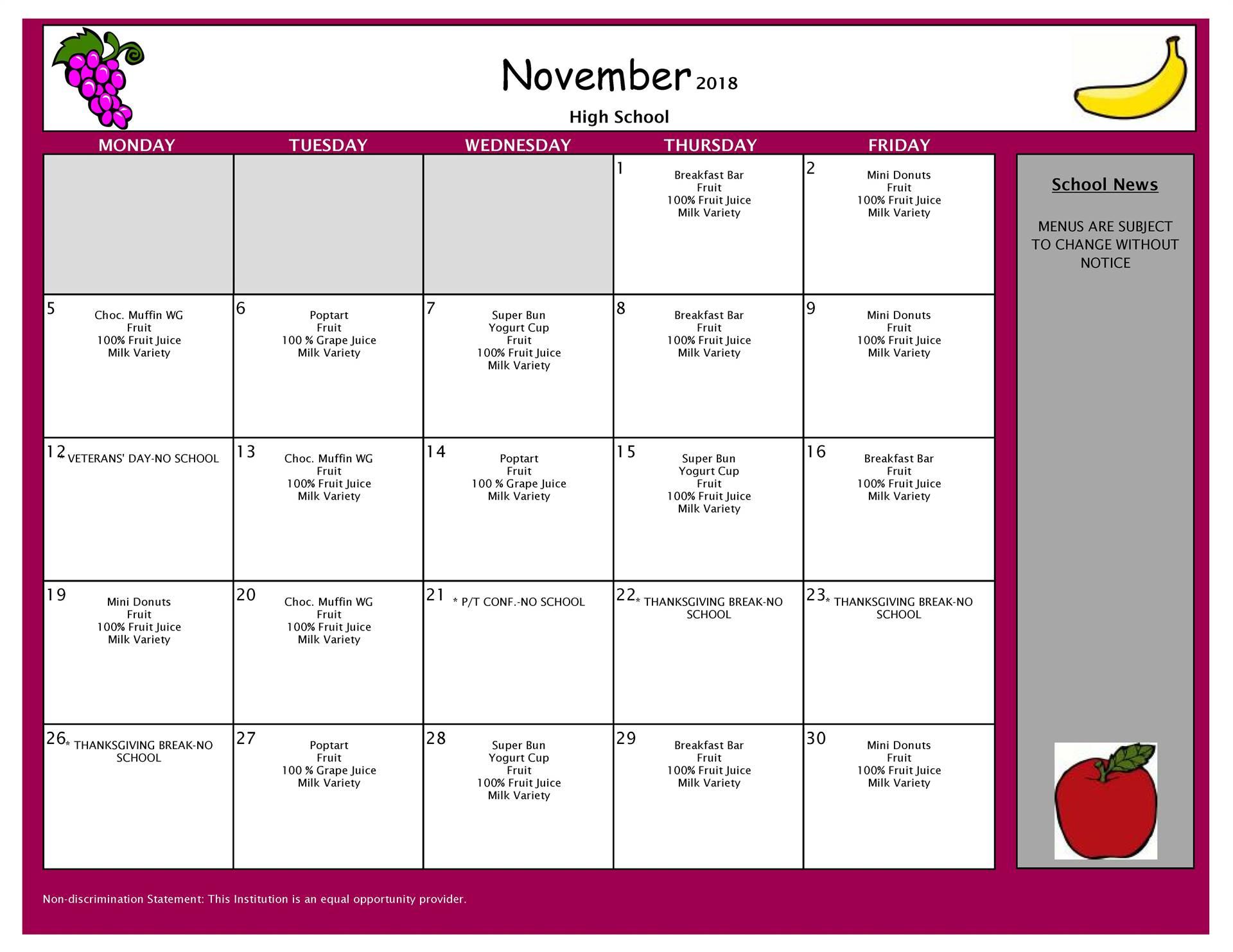 November Breakfast Menu High School