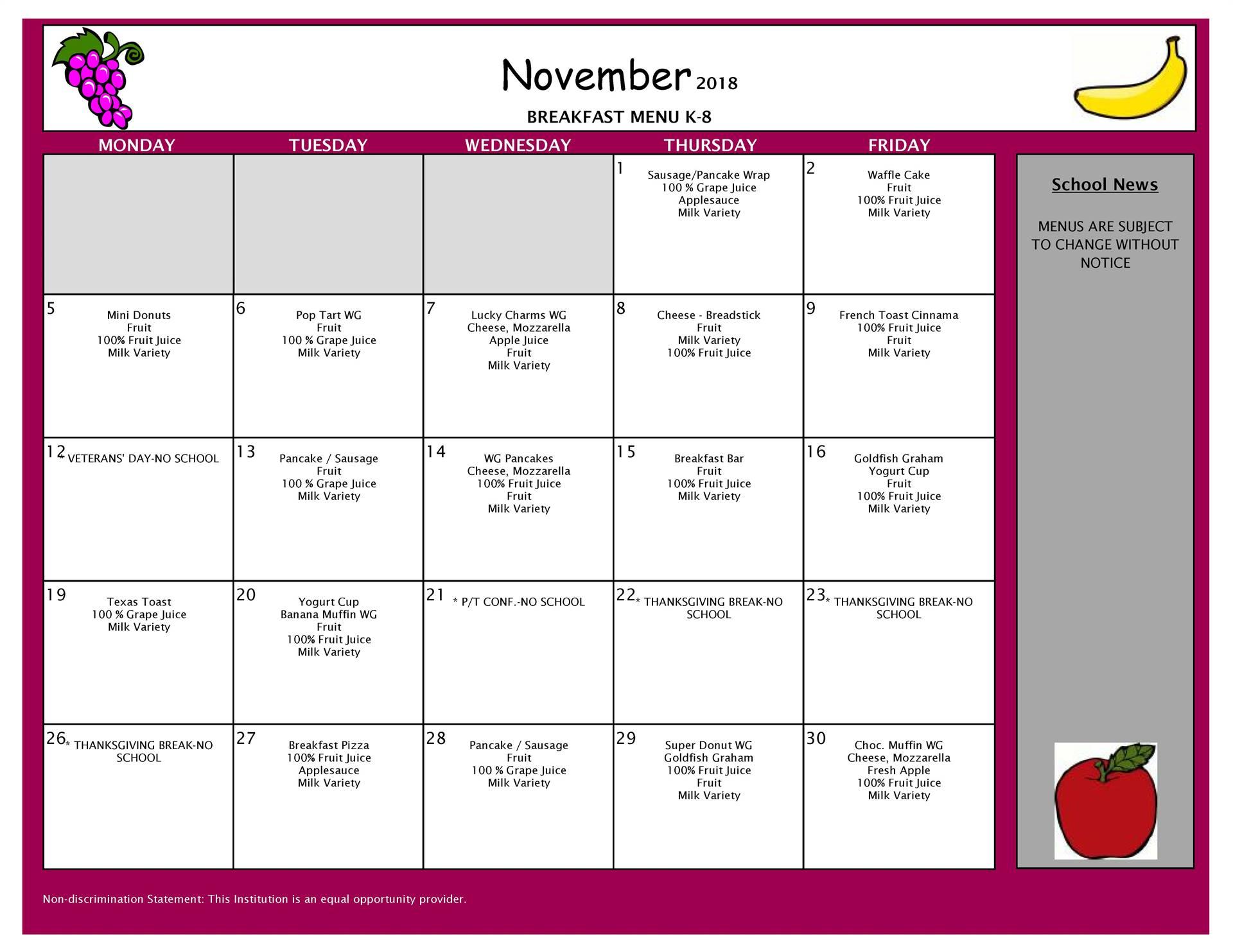 November Breakfast Menu Middle and Elementary Schools