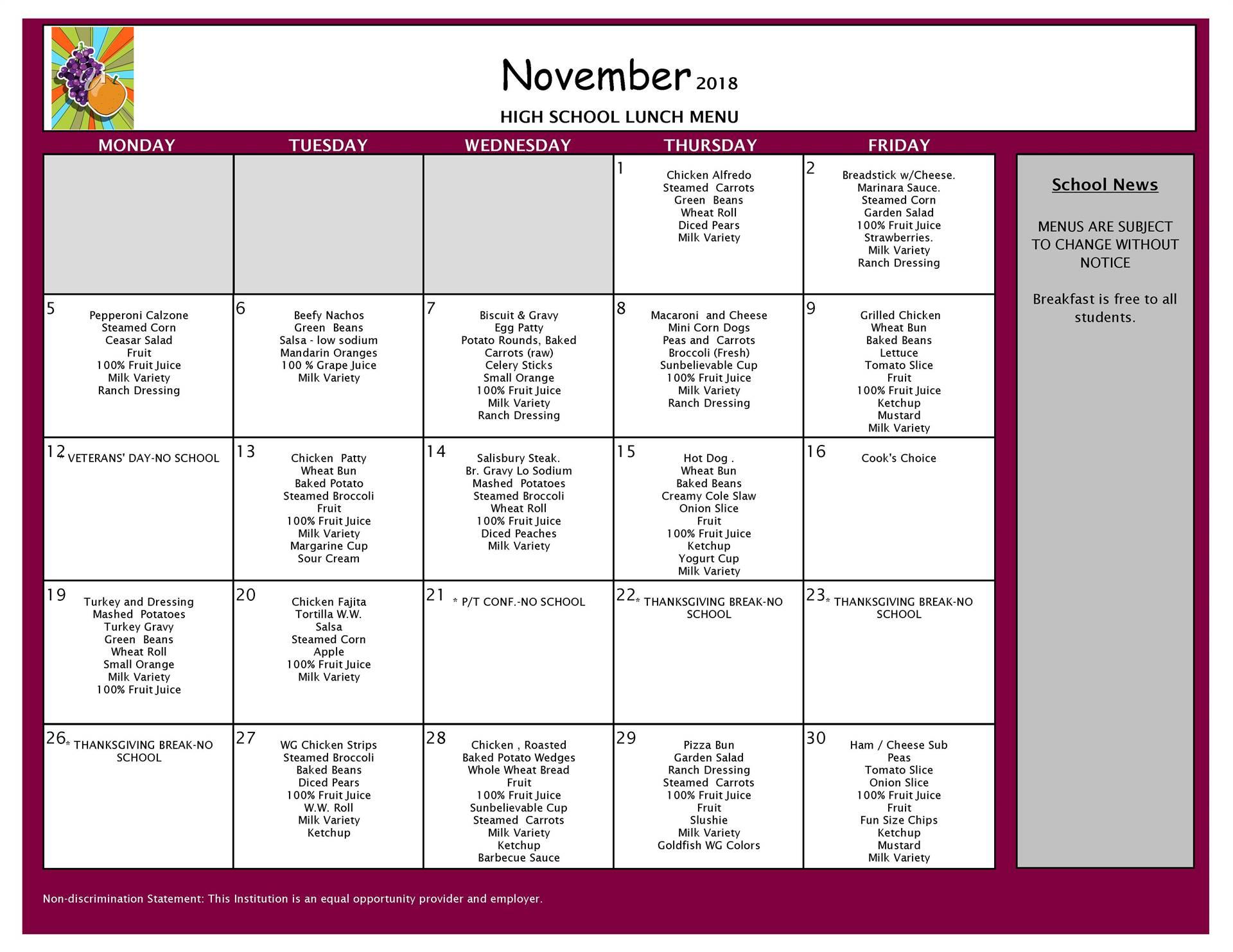 November Lunch Menu High School