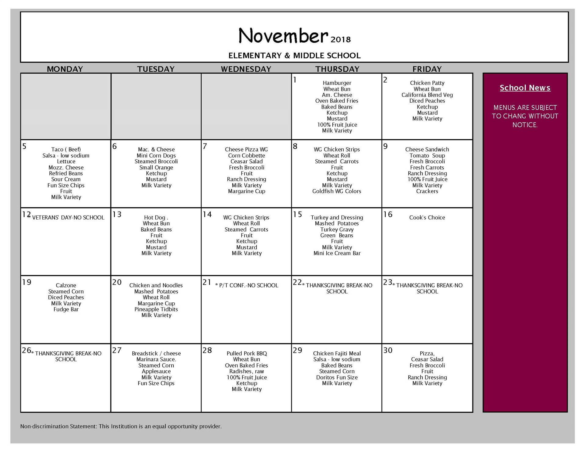 November Lunch Menu Middle and Elementary Schools