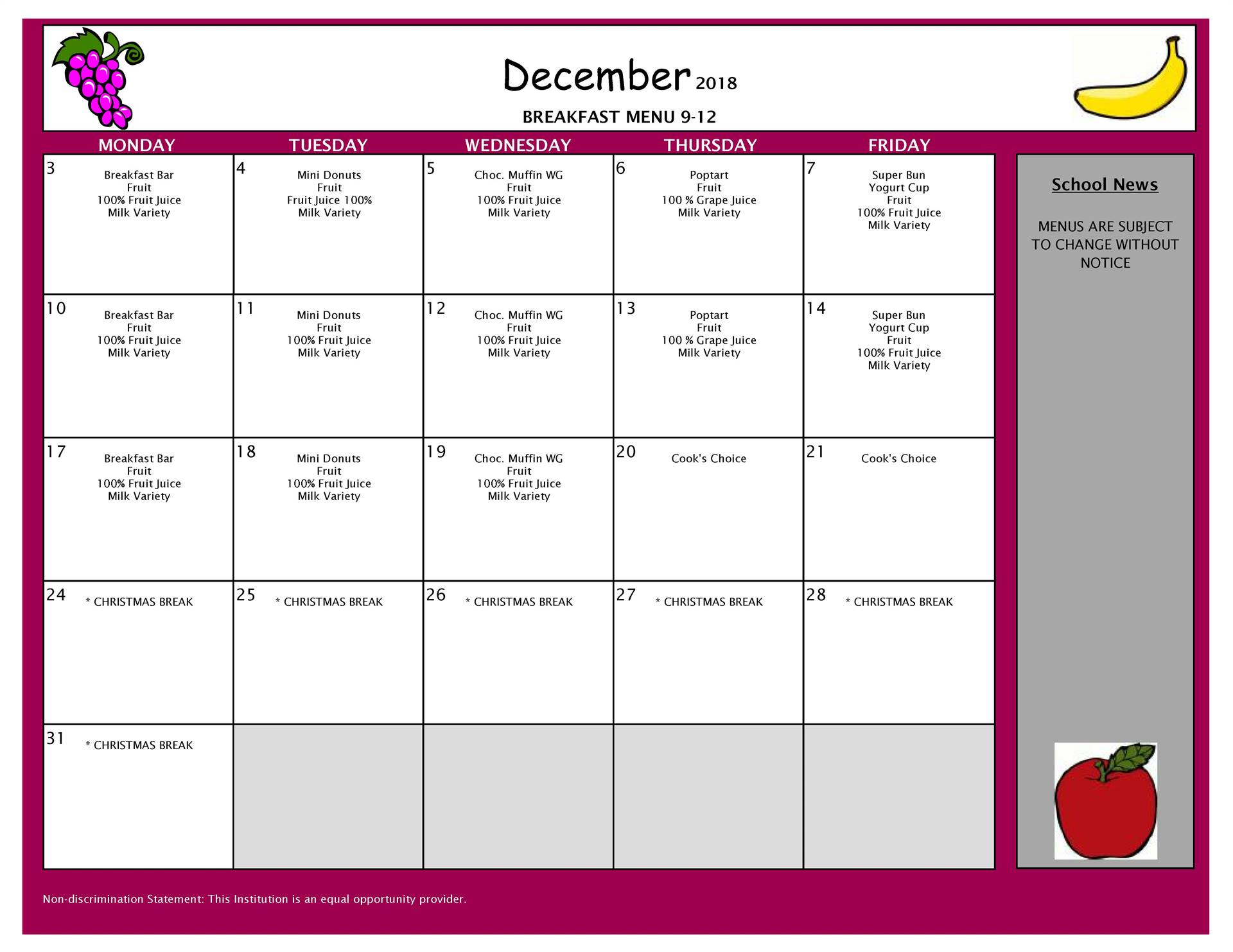 December Breakfast Menu High School