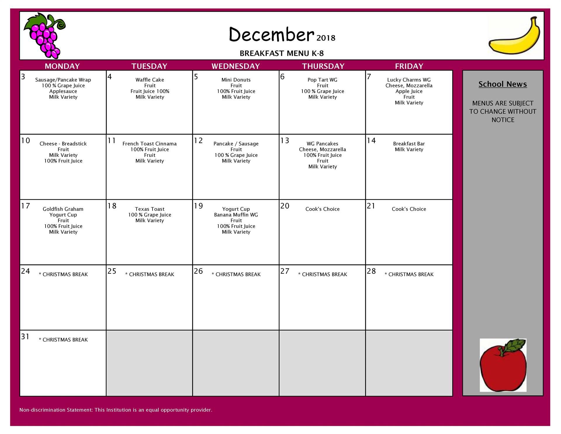 December Breakfast Menu Middle and Elementary School