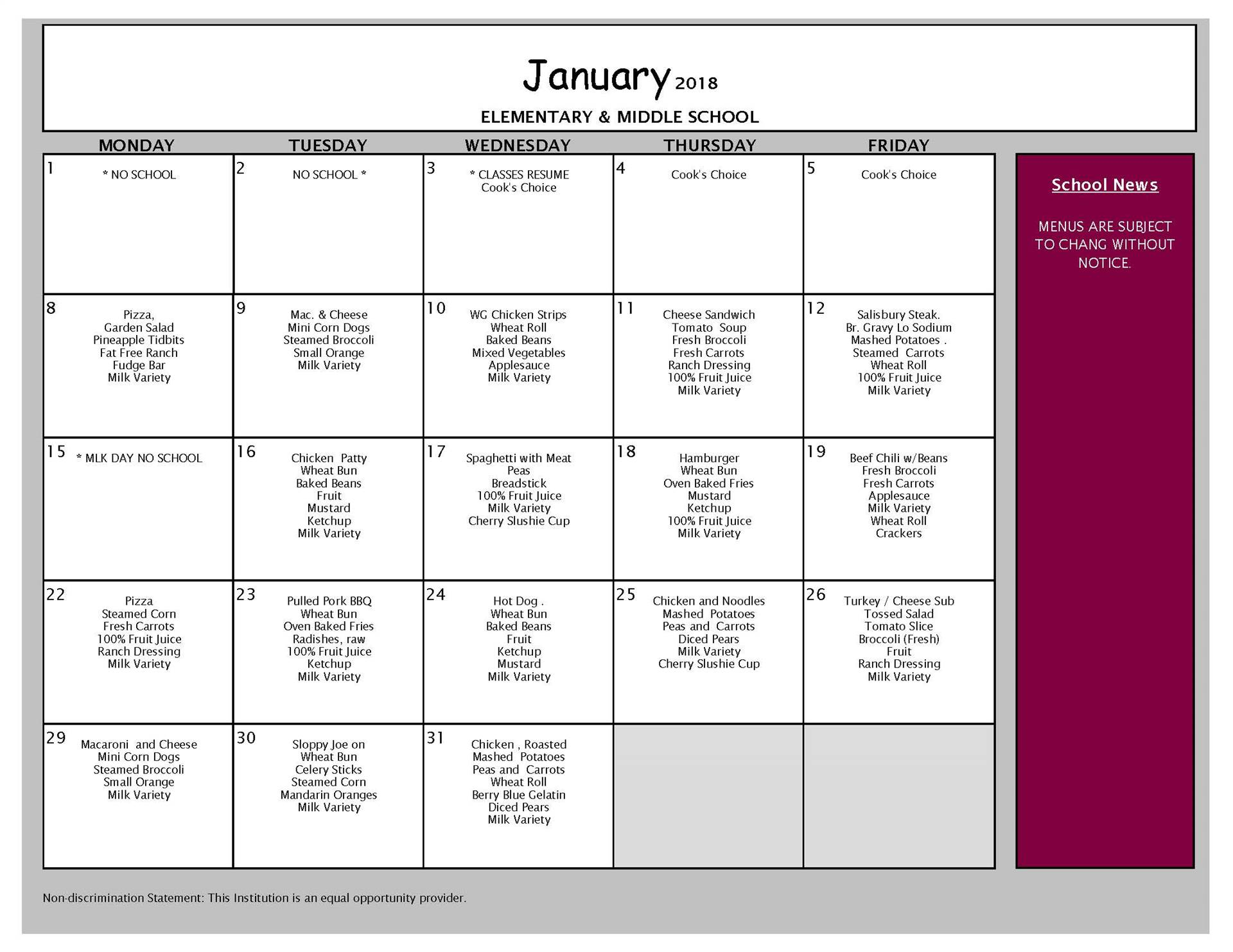 January Lunch Menu - Middle and Elemtnary Schools