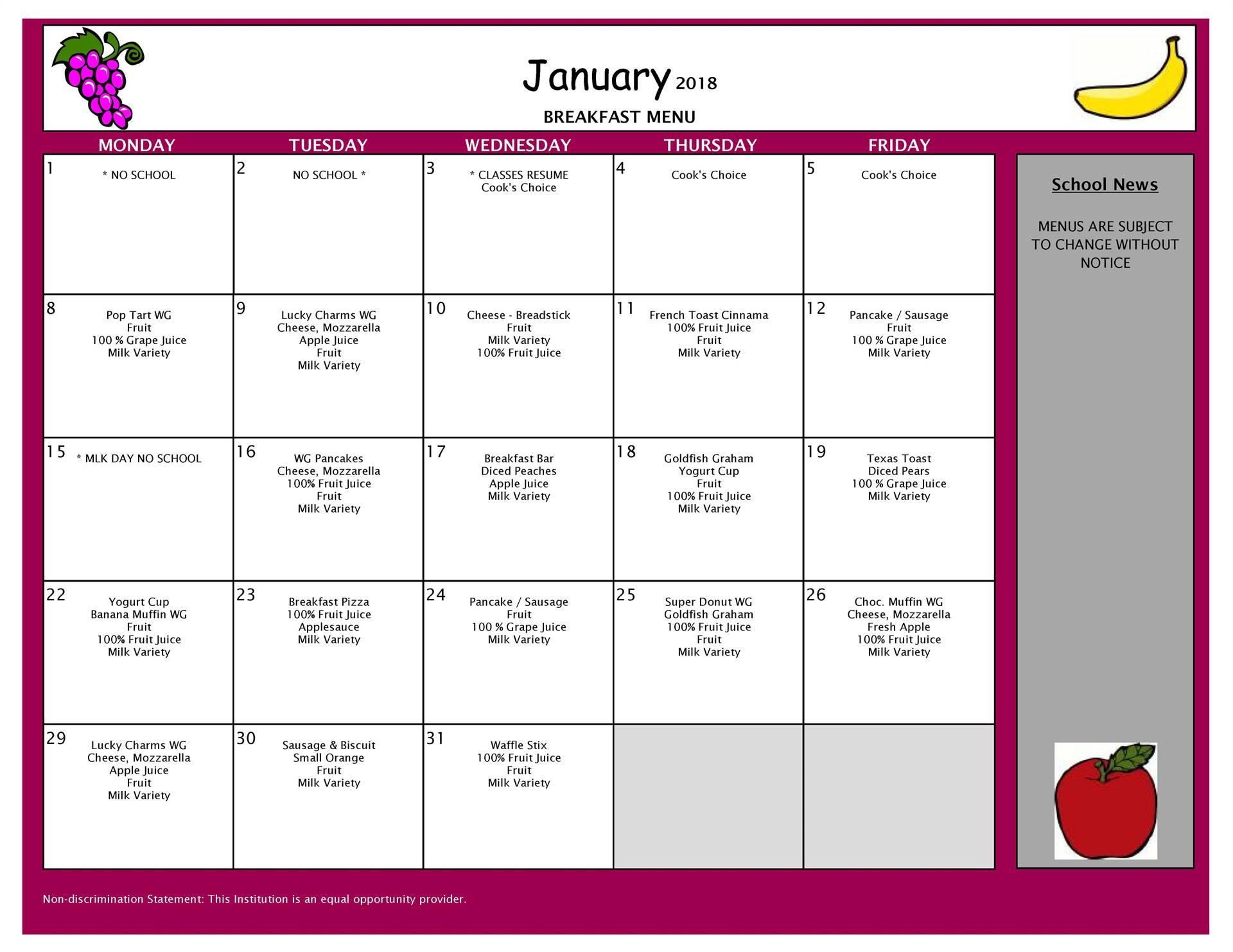January Breakfast Menu - All Buildings