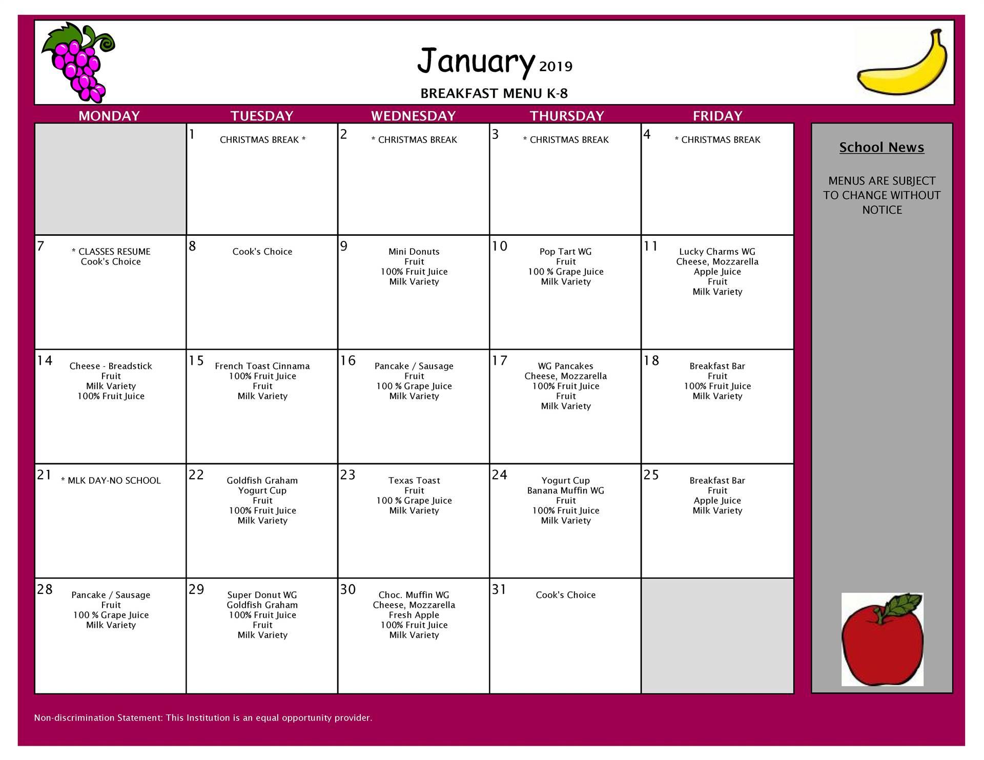 January Breakfast Menu Middle and Elementary School