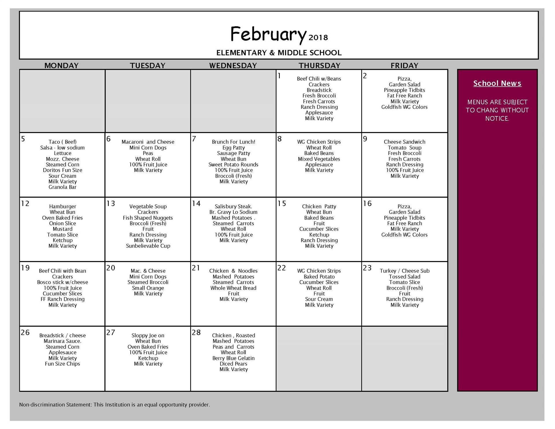 February Lunch Menu - Middle School and Elementary