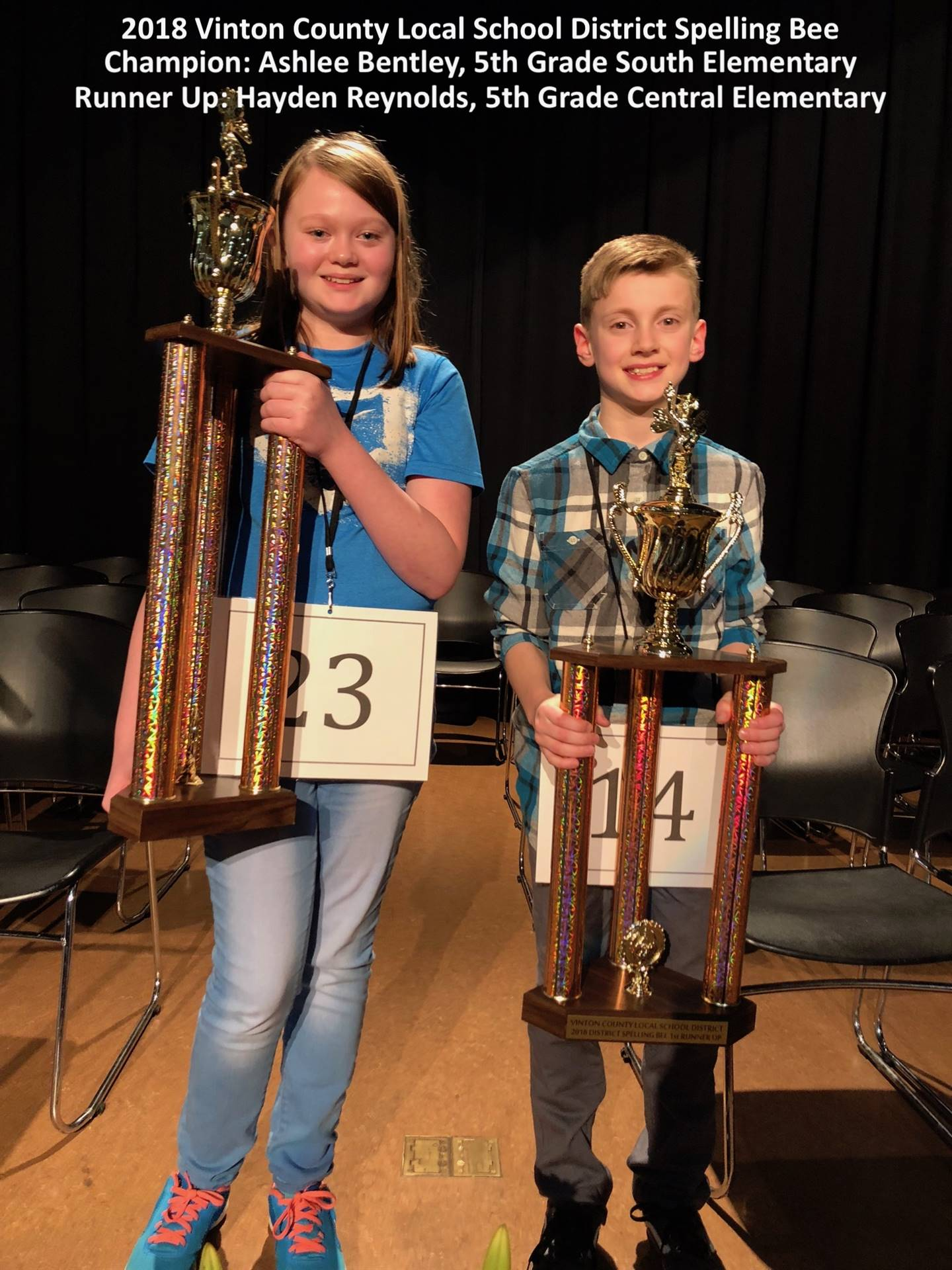 2018 District Spelling Bee Champion, Ashlee Bentley and Runner-Up, Hayden Reynolds