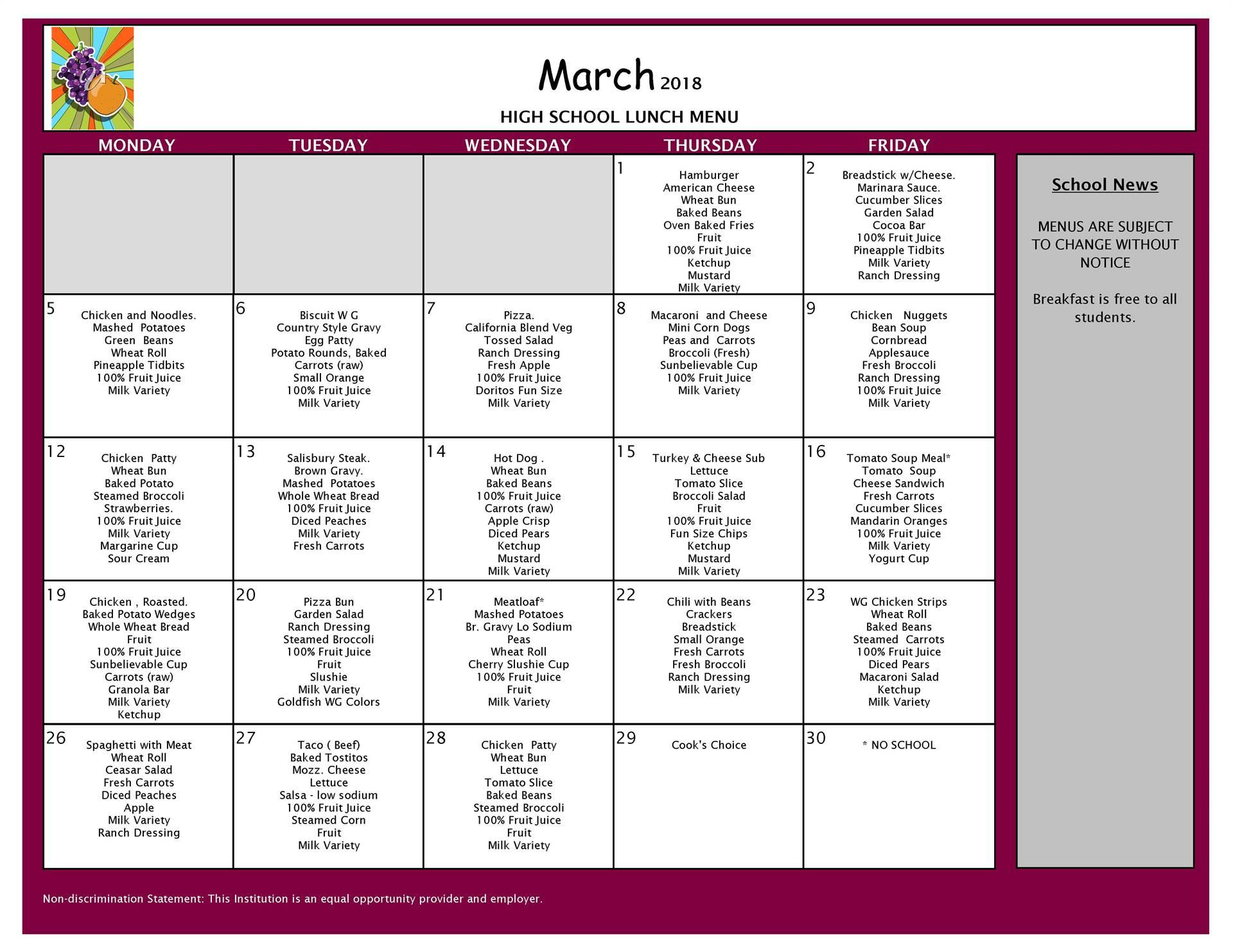 March Lunch Menu - High School