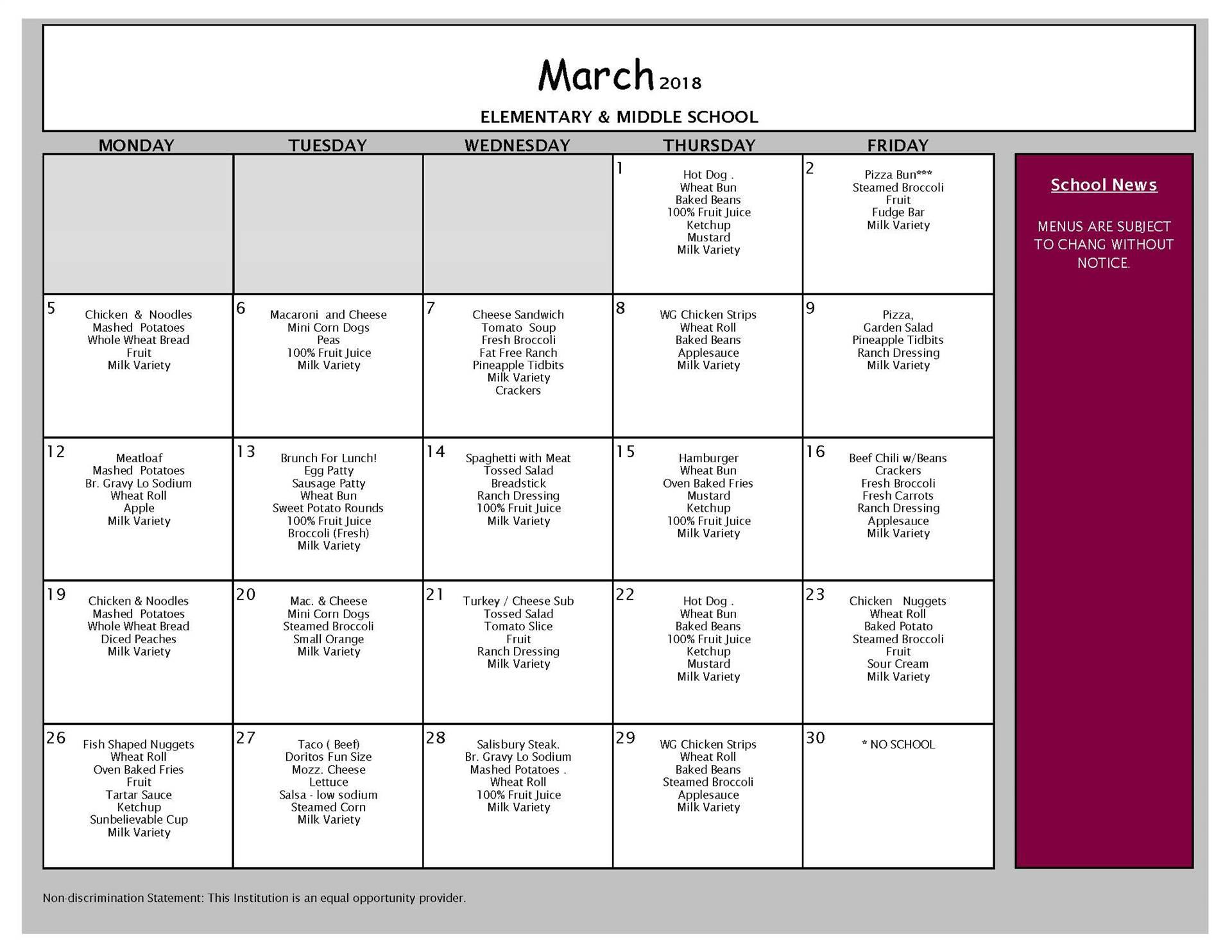 March Breakfast Menu - All Buildings