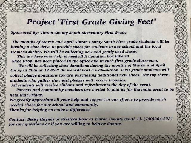 Project First Grade Giving Feet