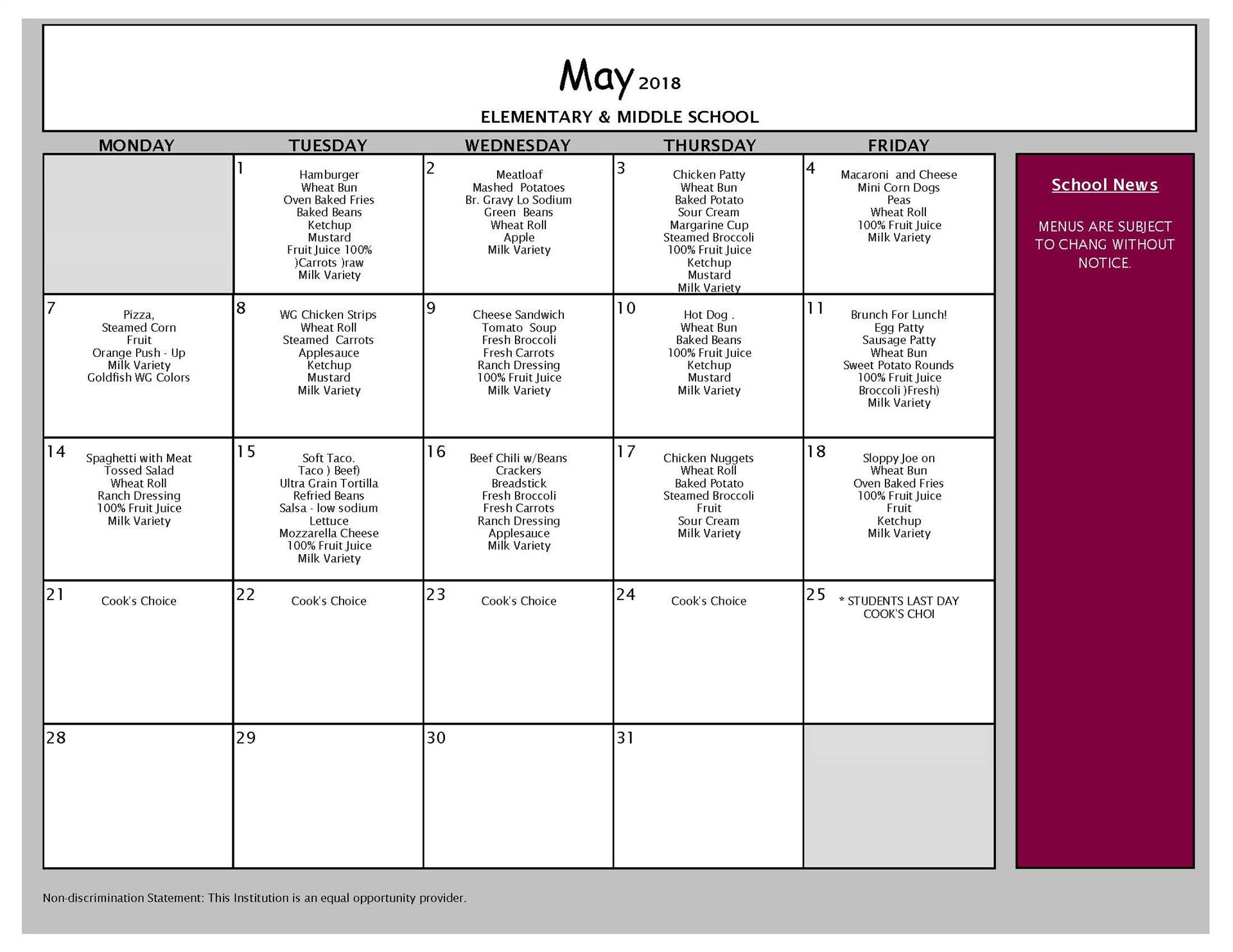 May Lunch Menu - Middle School and Elementary