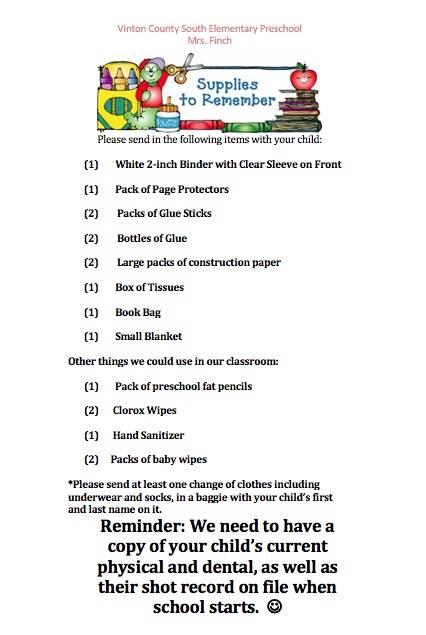 Mrs. Finch Preschool Supply List