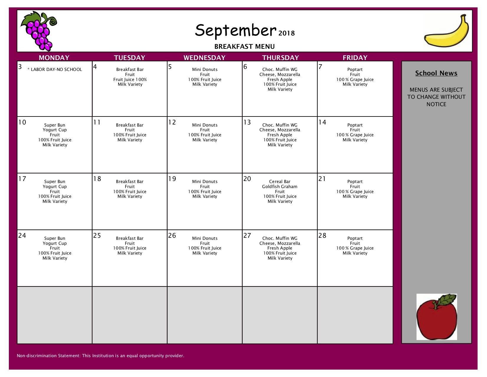 September Breakfast Menu - High School