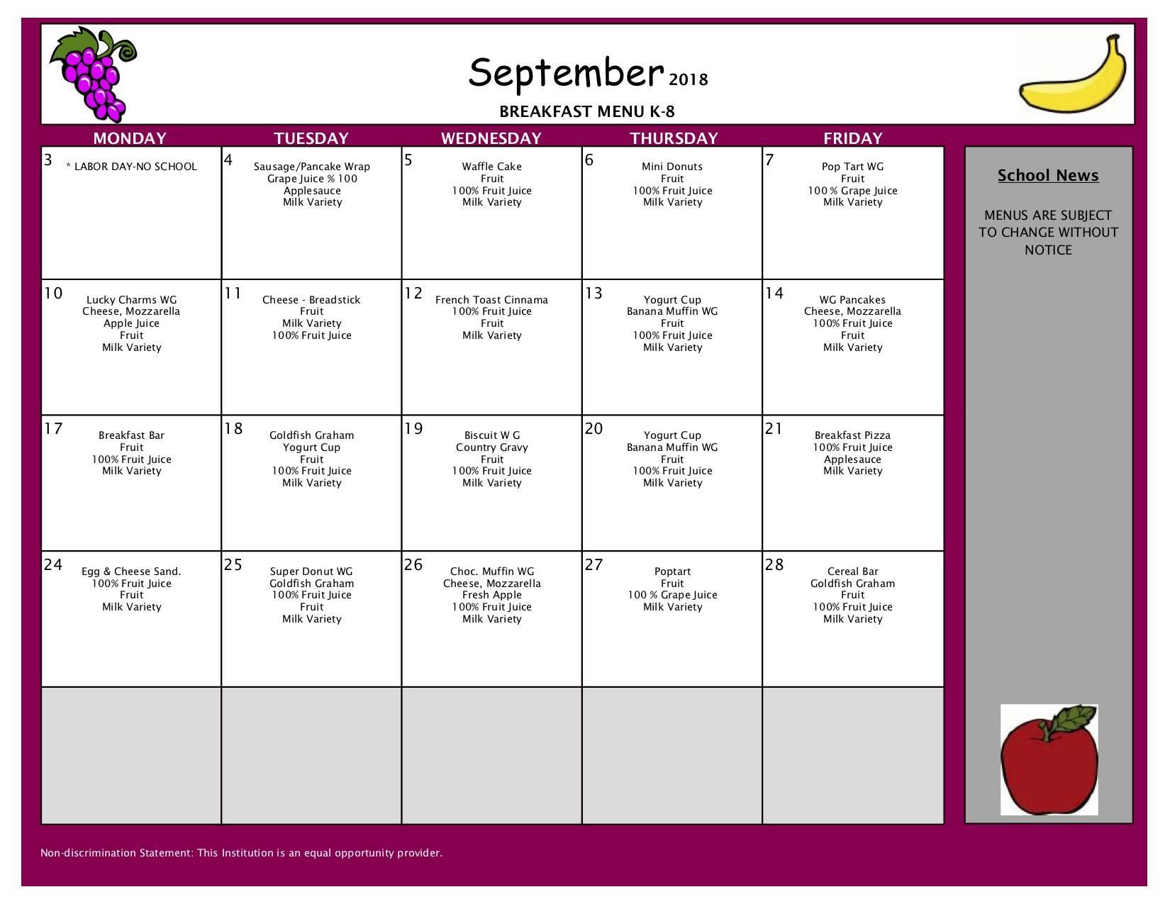September Breakfast Menu - Elementary and Middle Schools