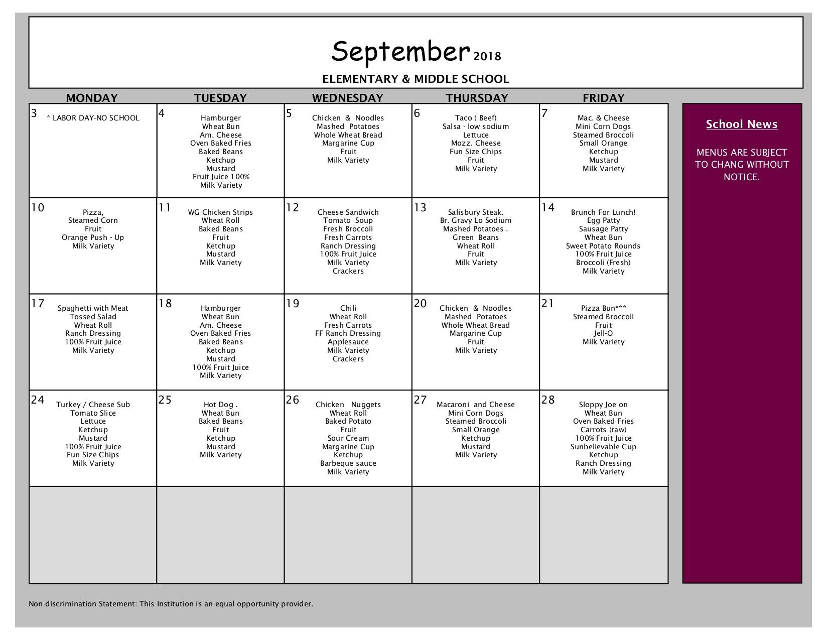September Lunch Menu - Elementary and Middle Schools