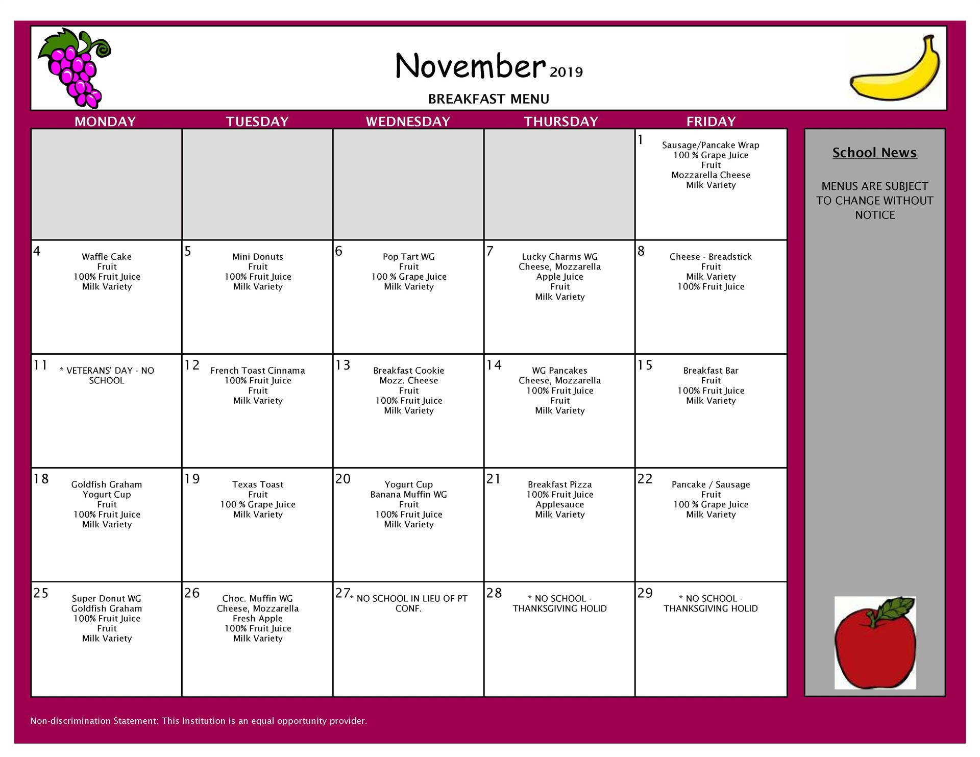 November Breakfast Grades PK-8