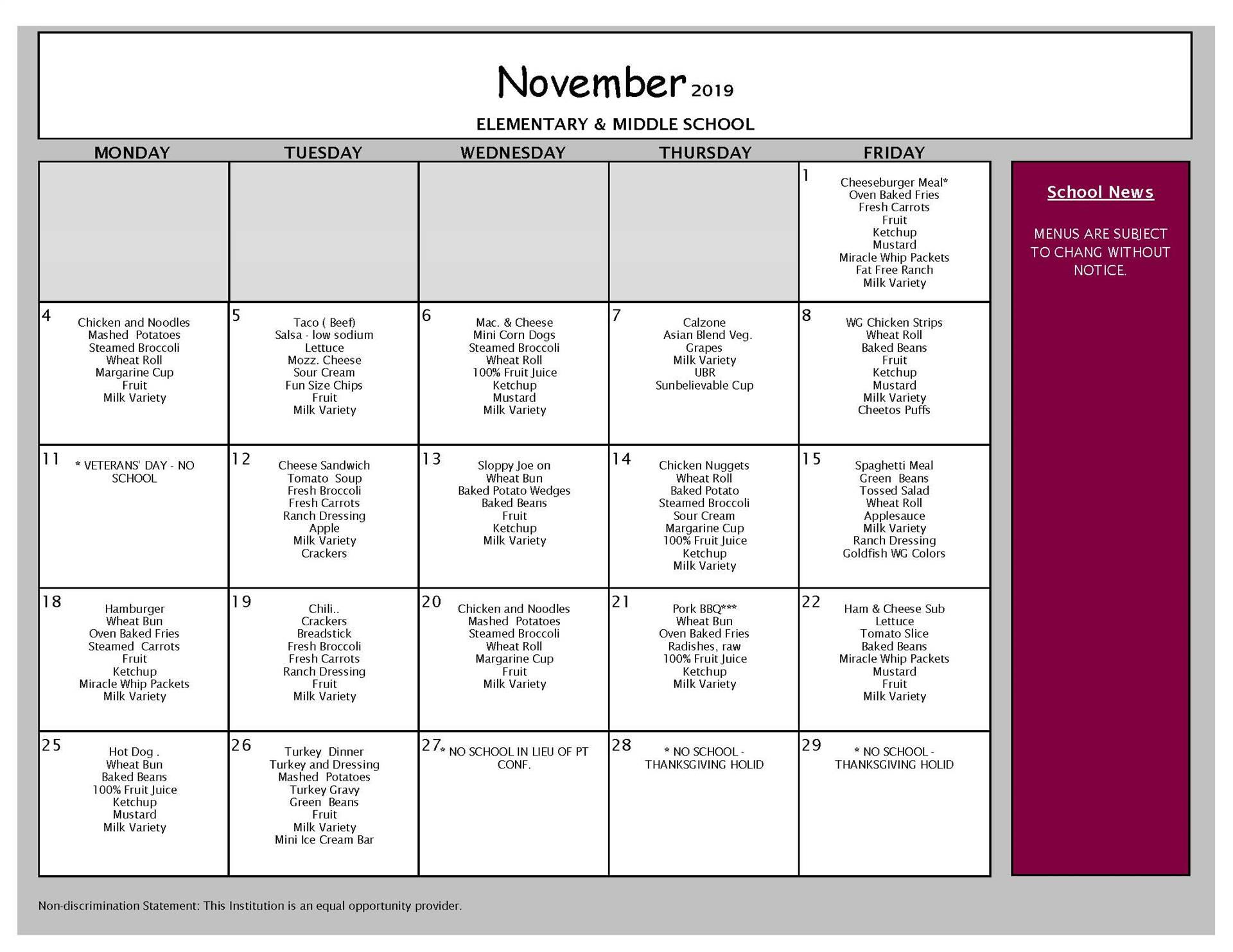 November Lunch Grades PK-8