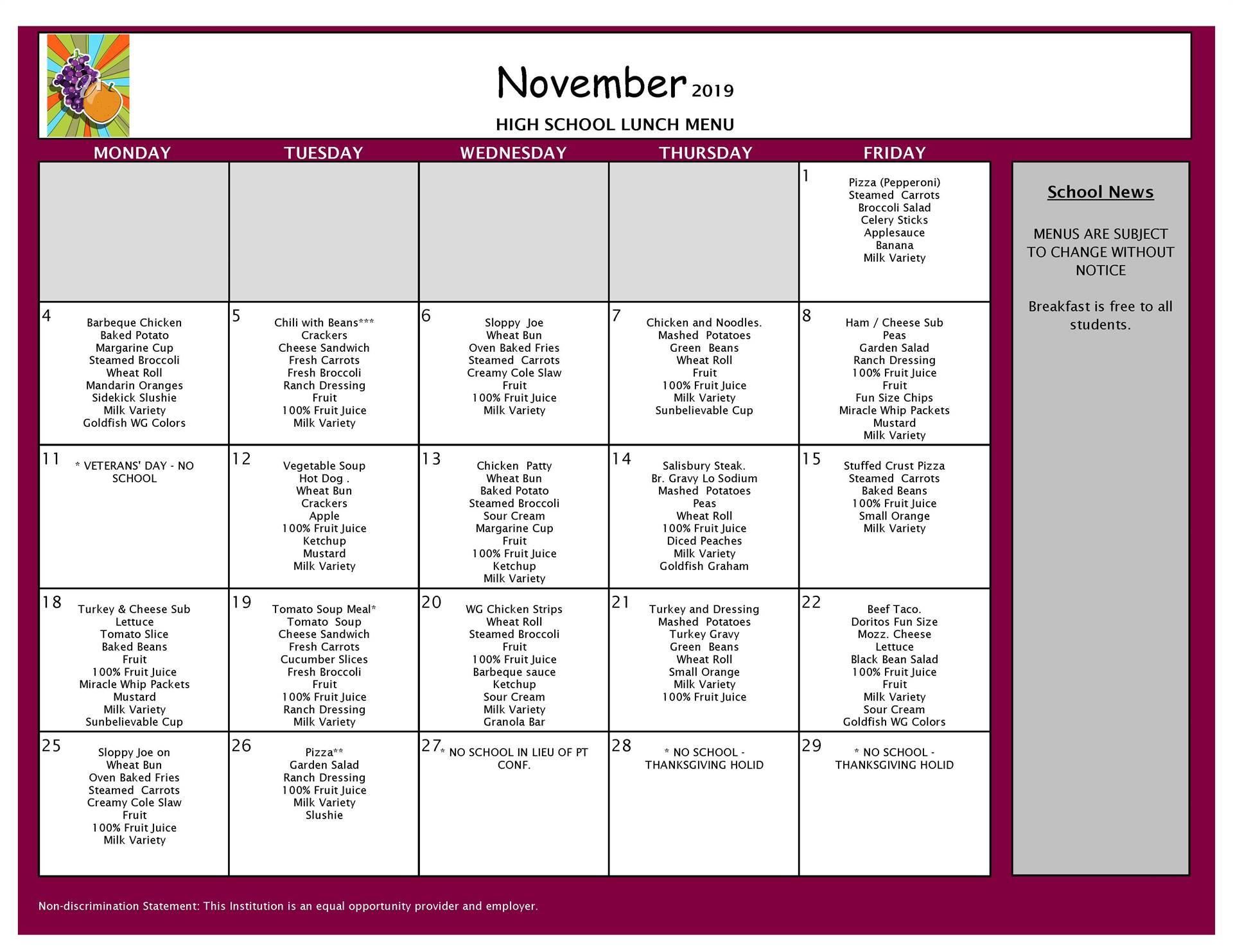 November Lunch Grades 9-12
