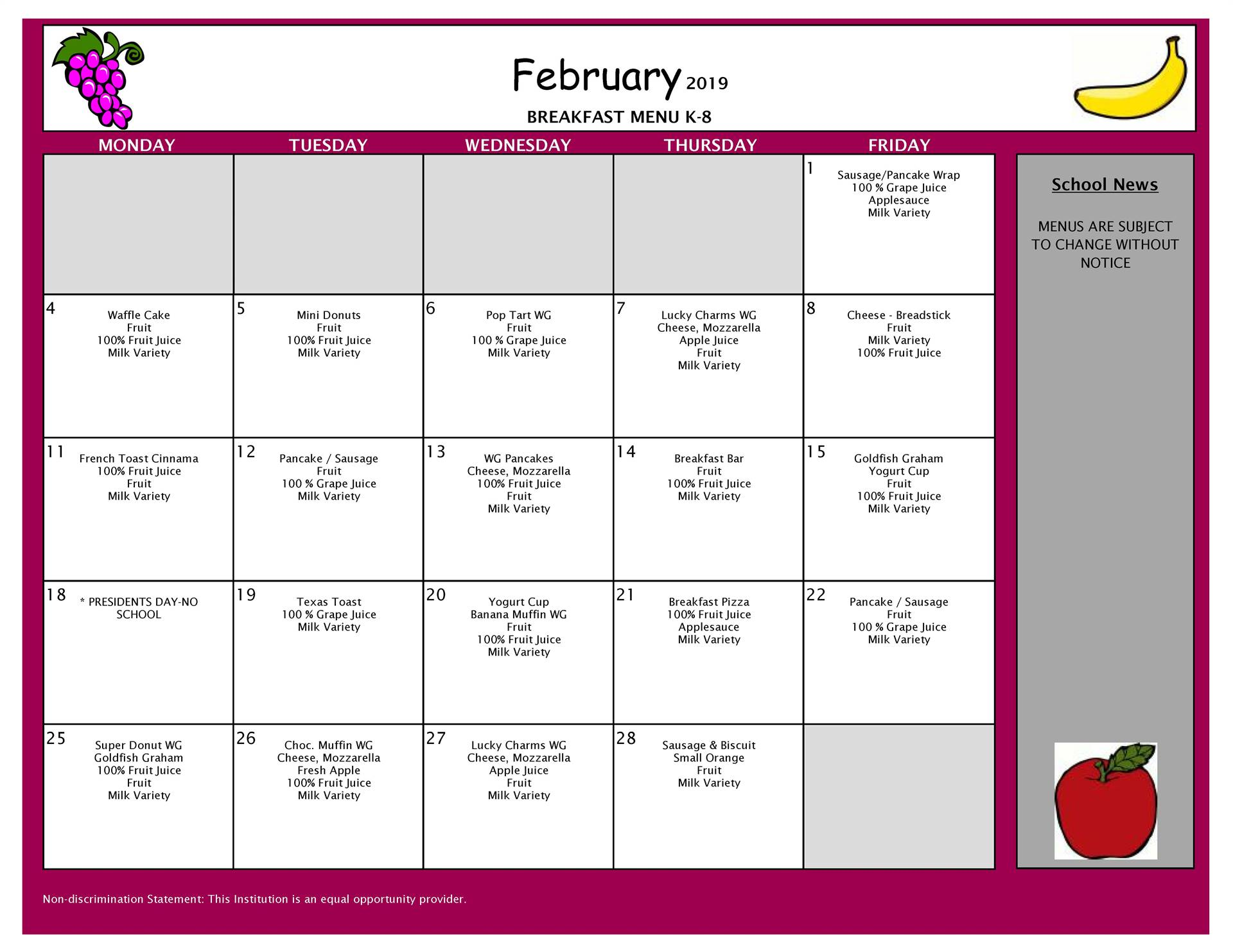 February Breakfast Menu Middle and Elementary School