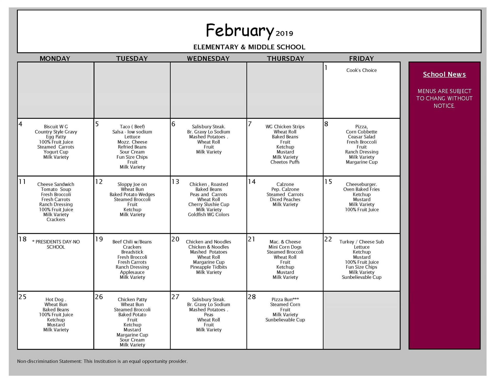 February Lunch Menu Middle and Elementary School