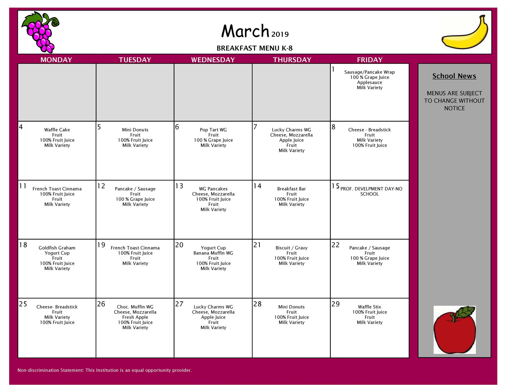 March Breakfast Menu VCMS and Elementary
