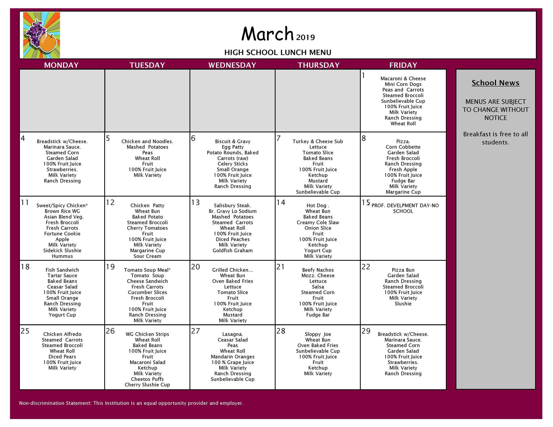 March Lunch Menu VCHS