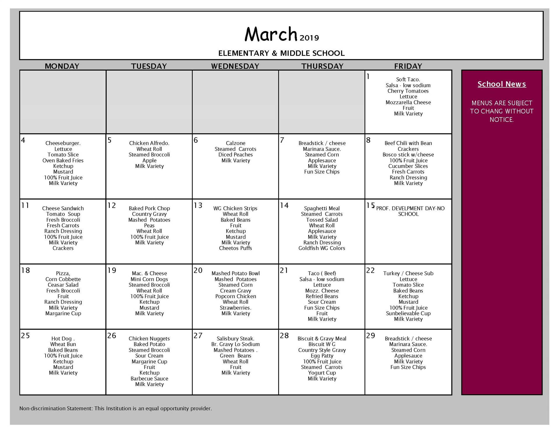March Lunch Menu VCMS and Elementary