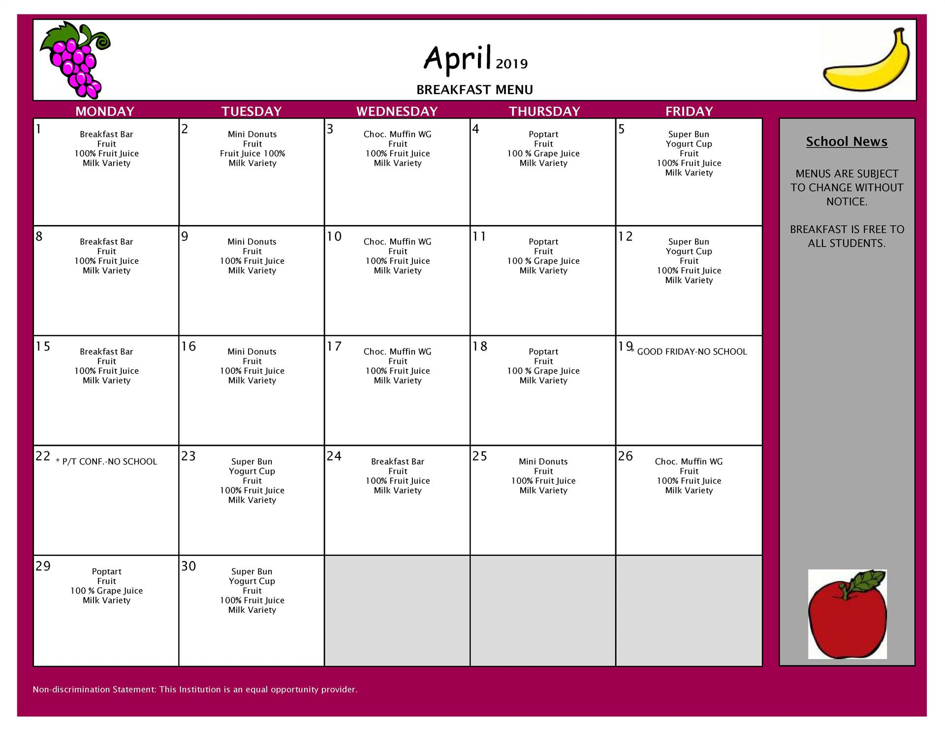 April Breakfast Menu Grades 9-12