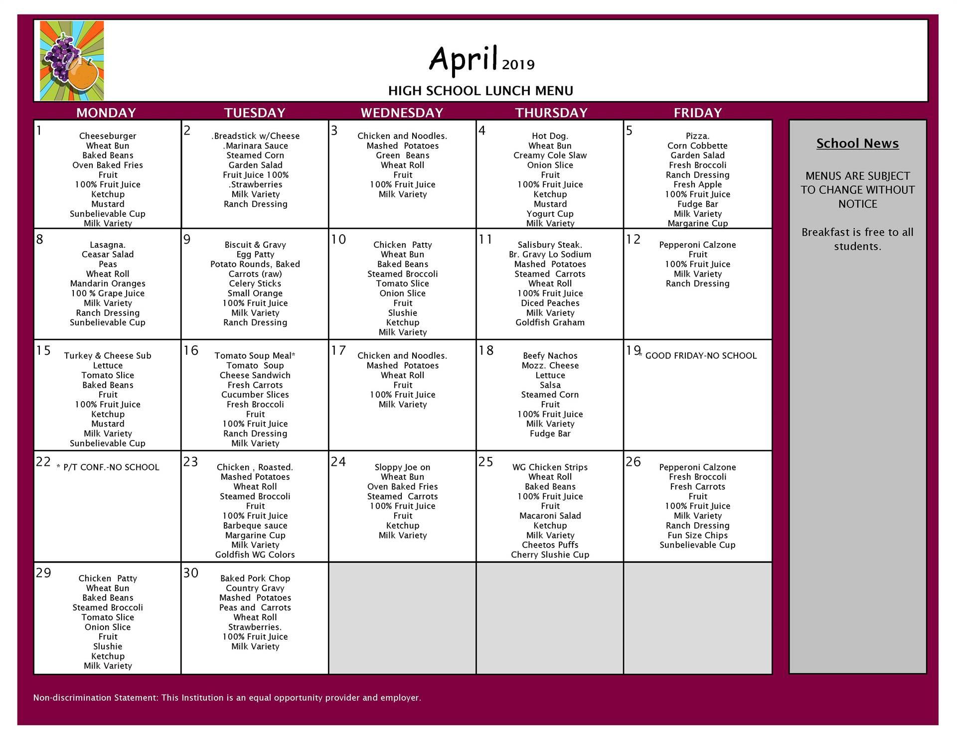 April Lunch Menu Grades 9-12