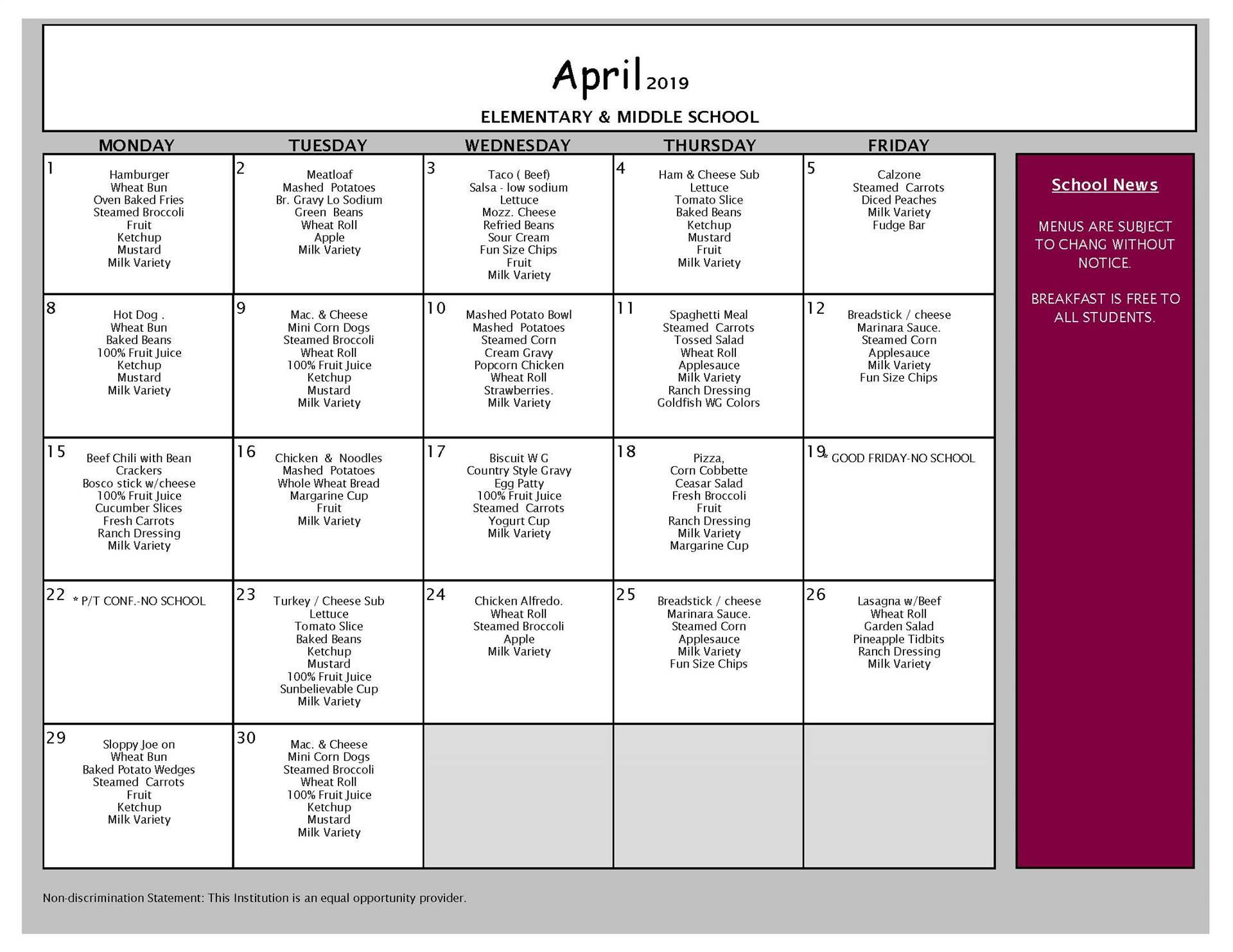 April Lunch Menu Grades PK-8