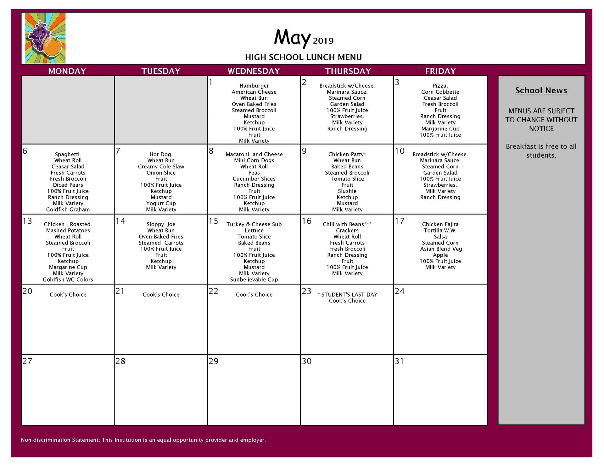 May Lunch Menu Grades 9-12
