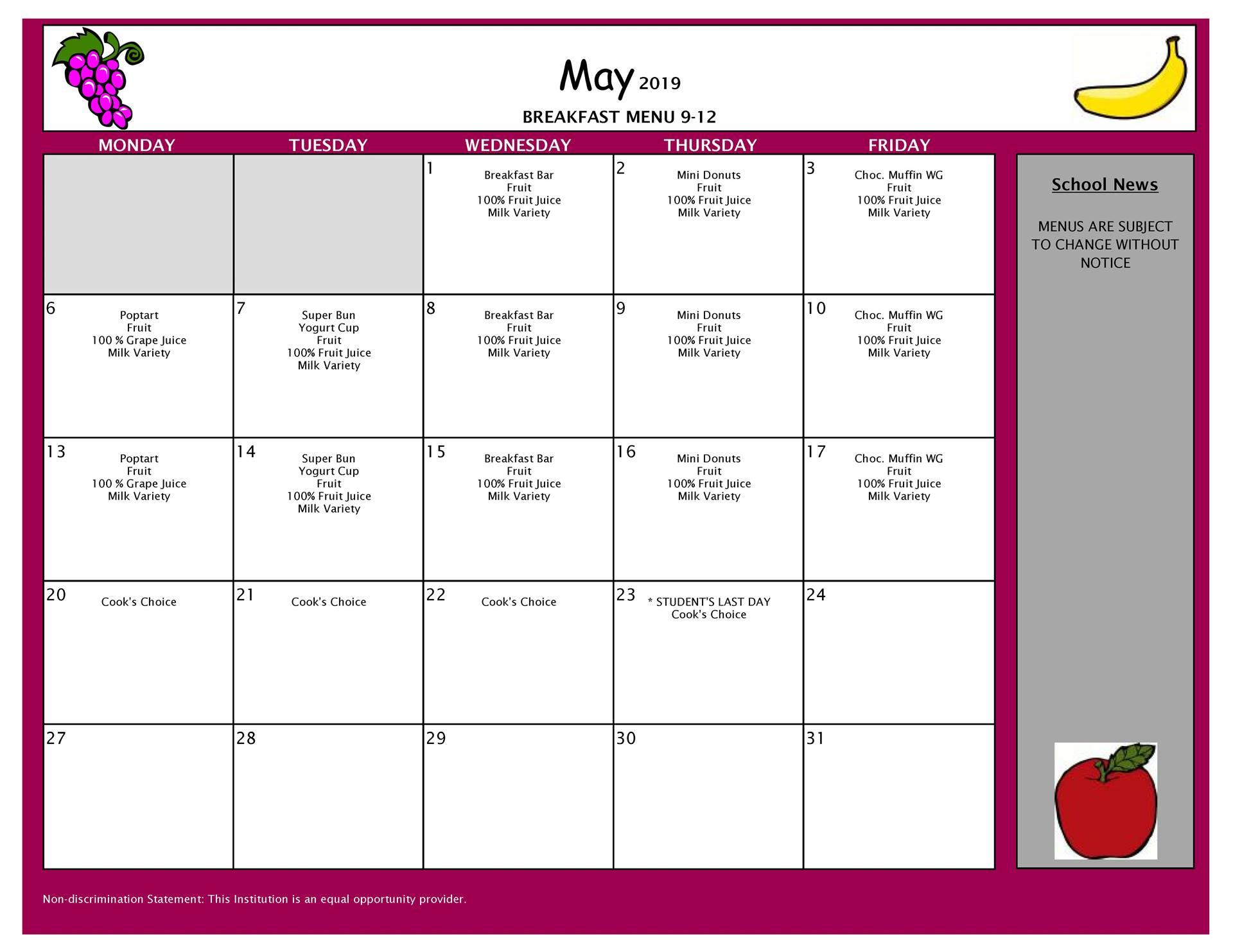 May Breakfast Grades 9-12