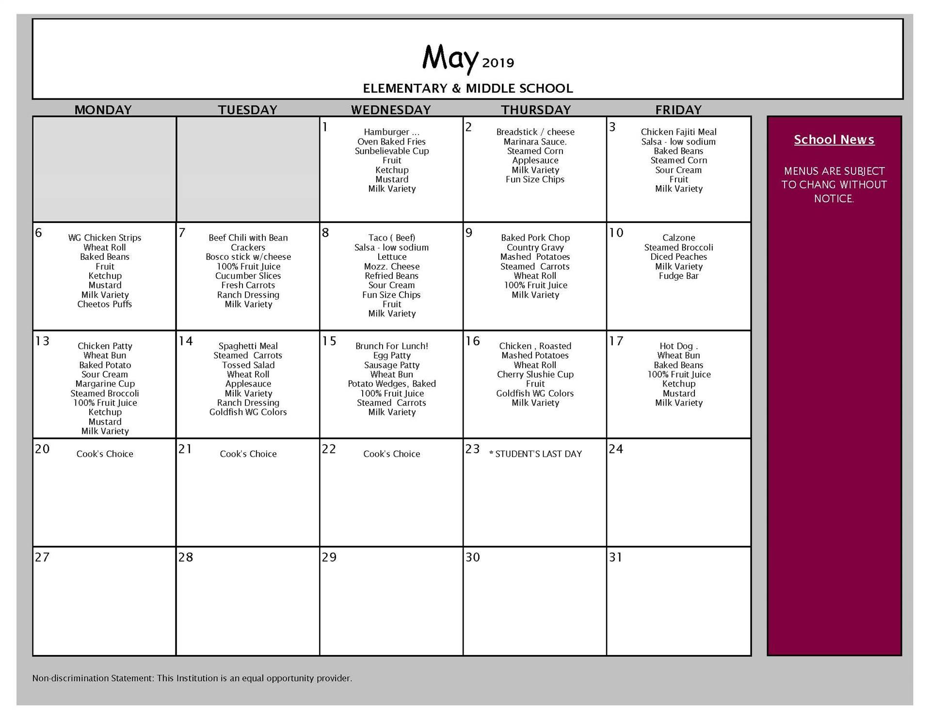 May Lunch Menu Grades PK-8