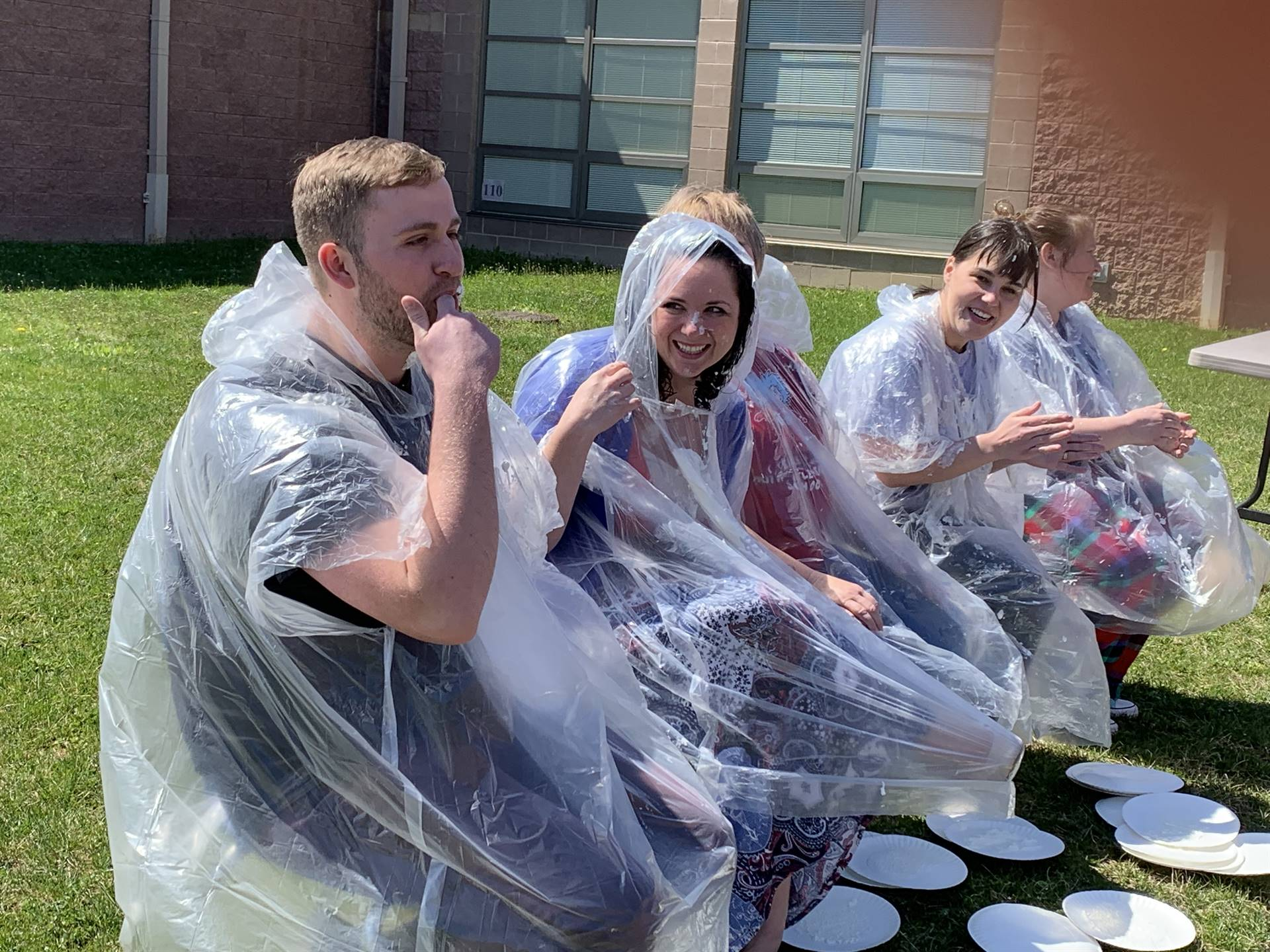 Having a good time on pie in the face day!