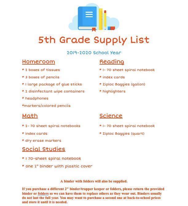 5th Grade Supply List