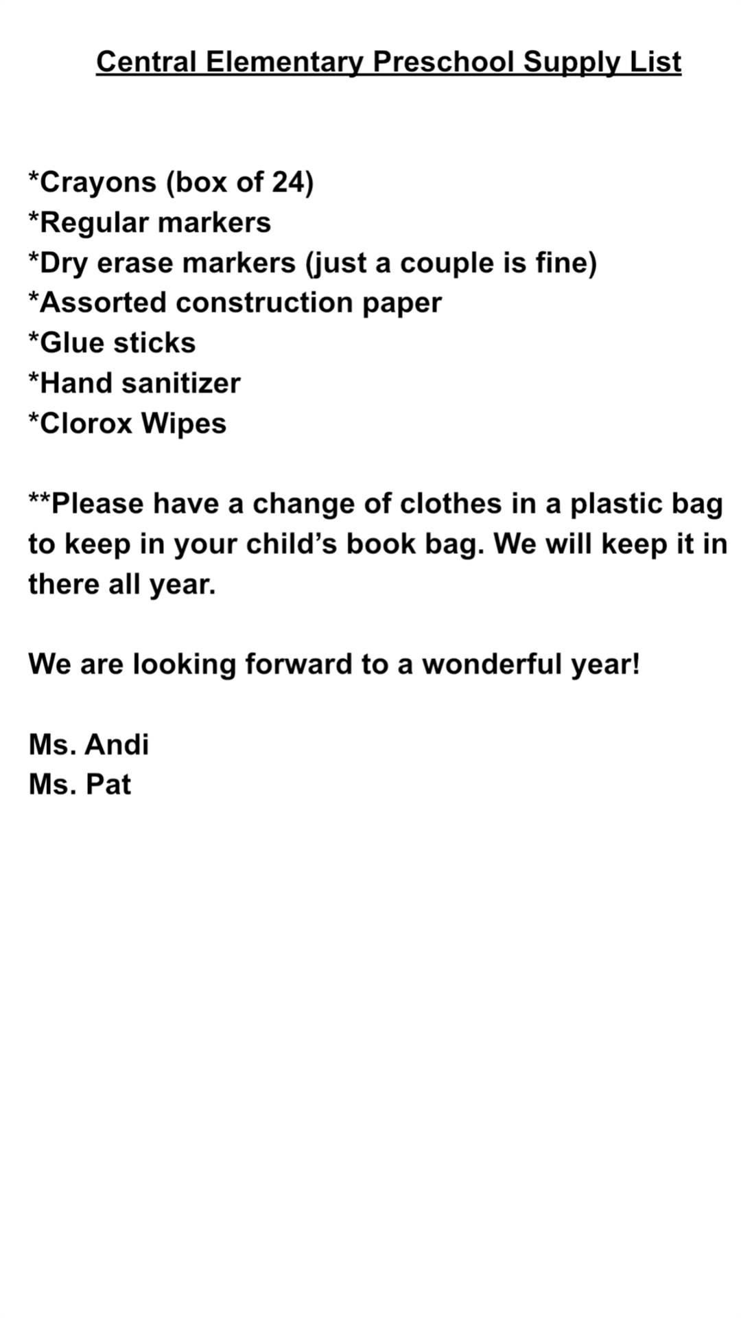PS School Supply List