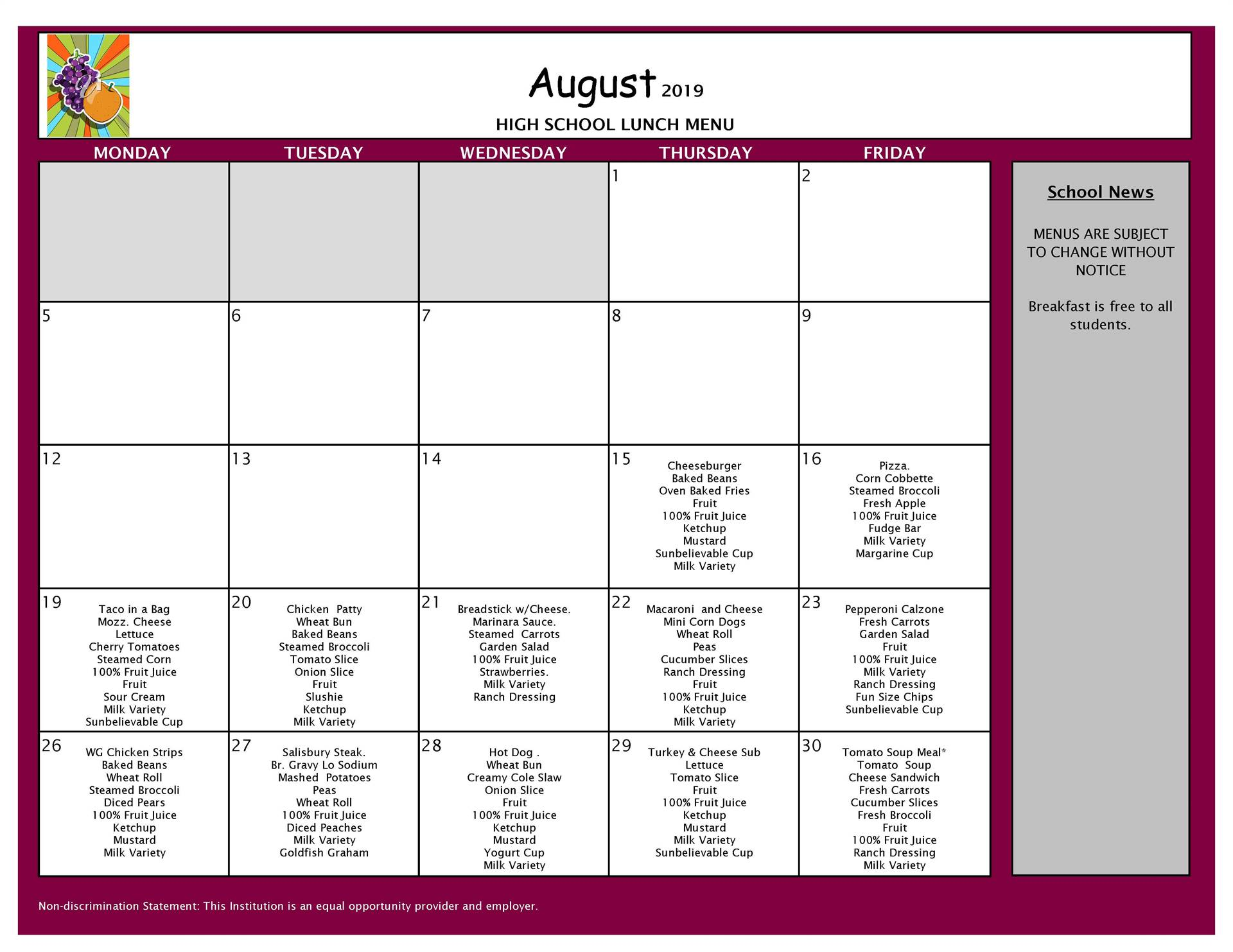 August Lunch Menu Grades 9-12