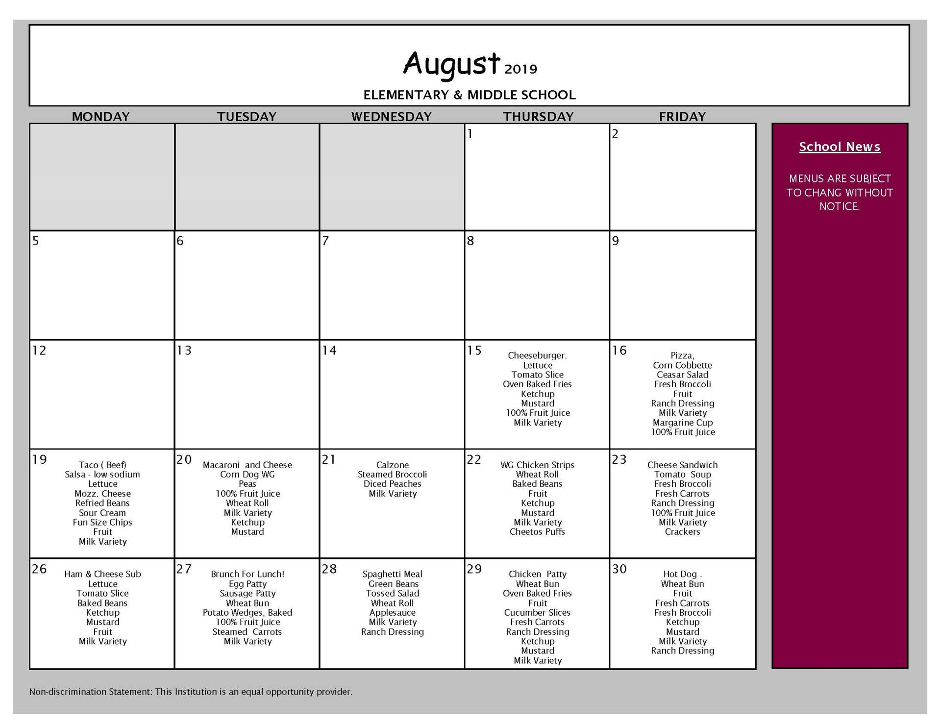 August Lunch Menu Grades PK-8