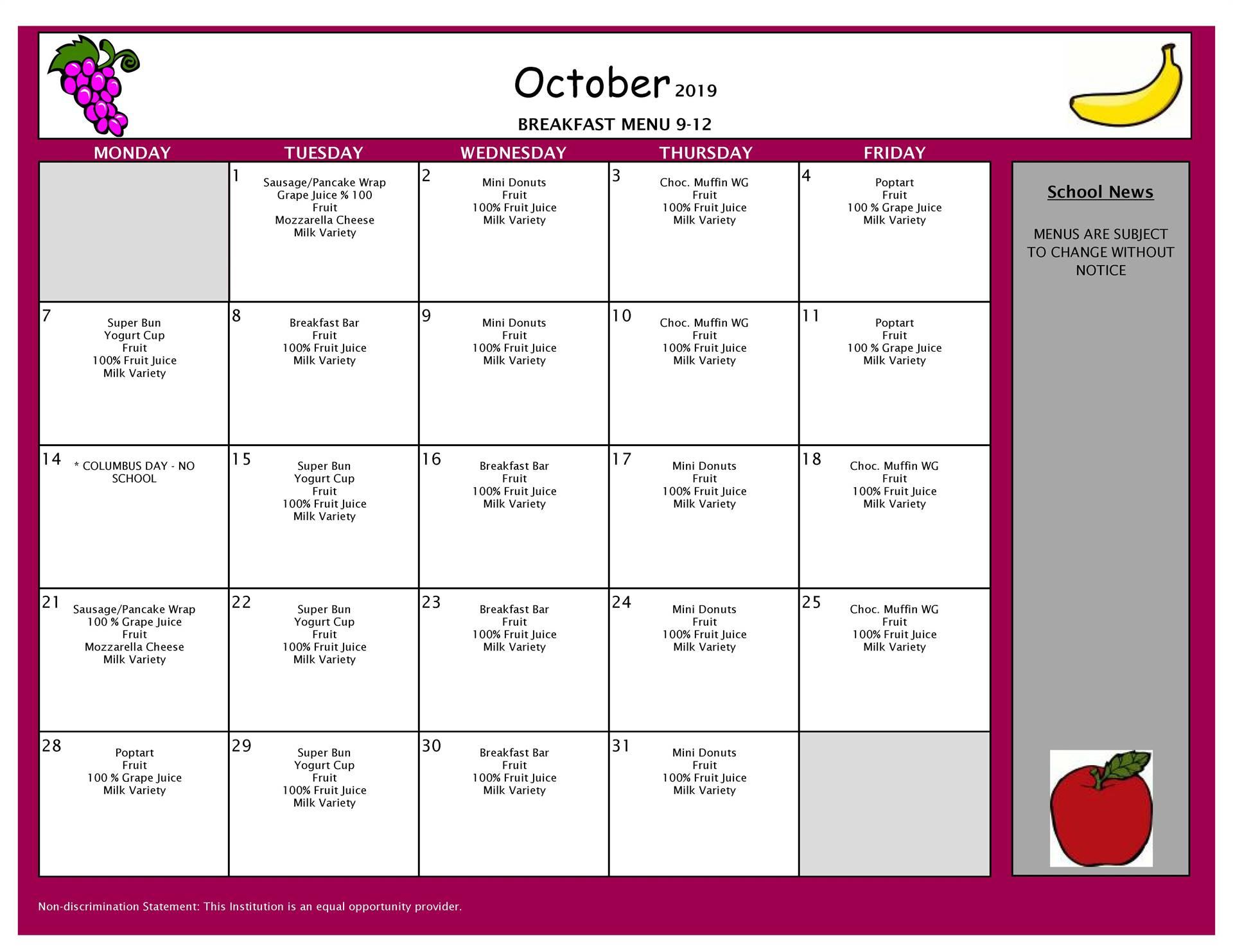 October Breakfast Grades 9-12