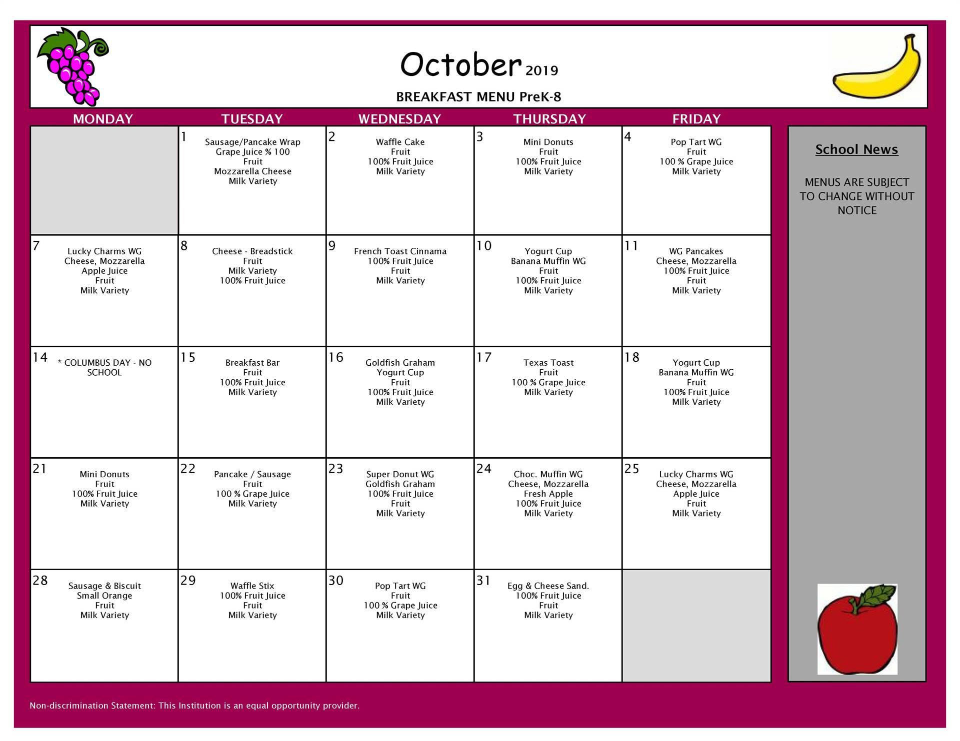 October Breakfast Grades PK-8
