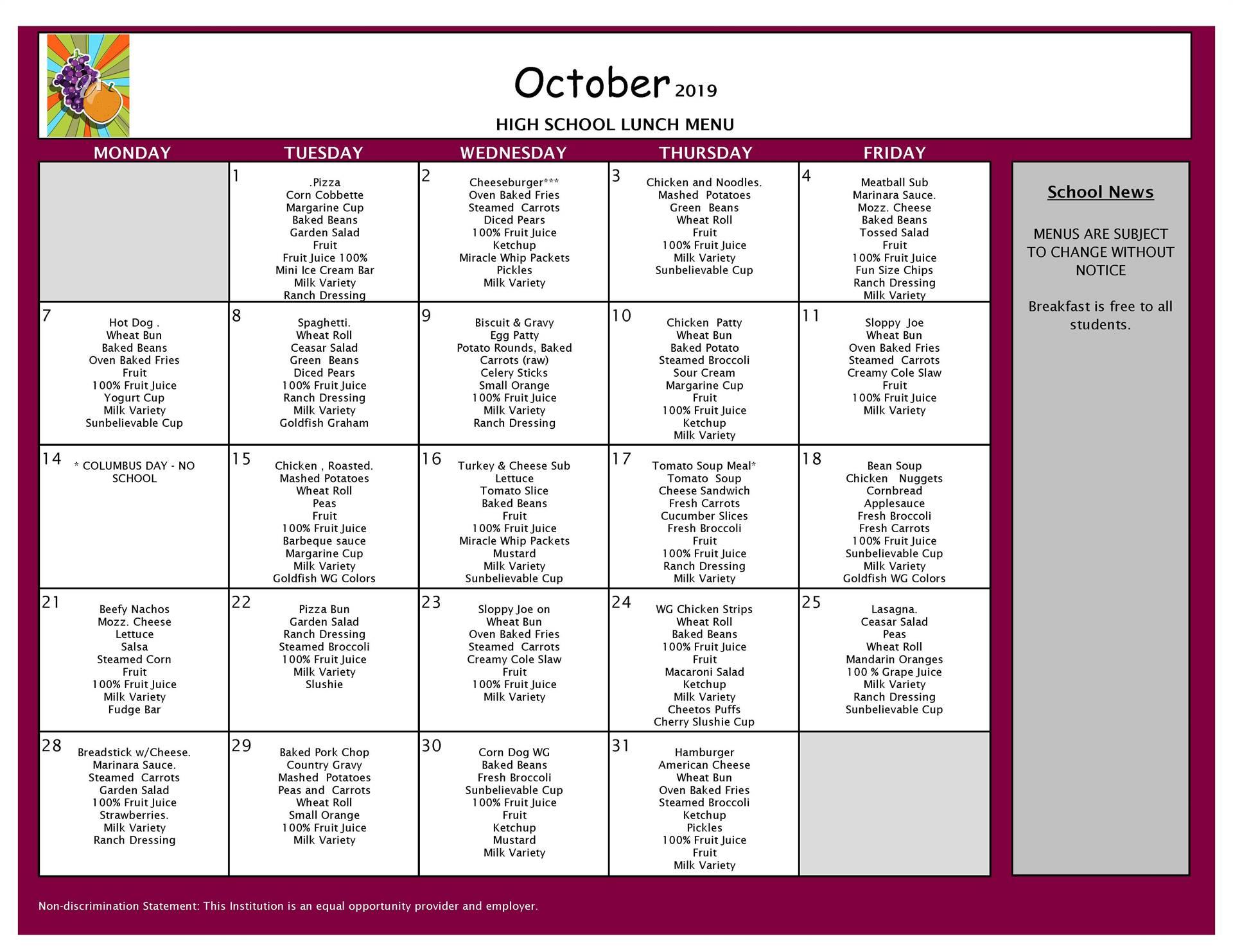 October Lunch Grades 9-12