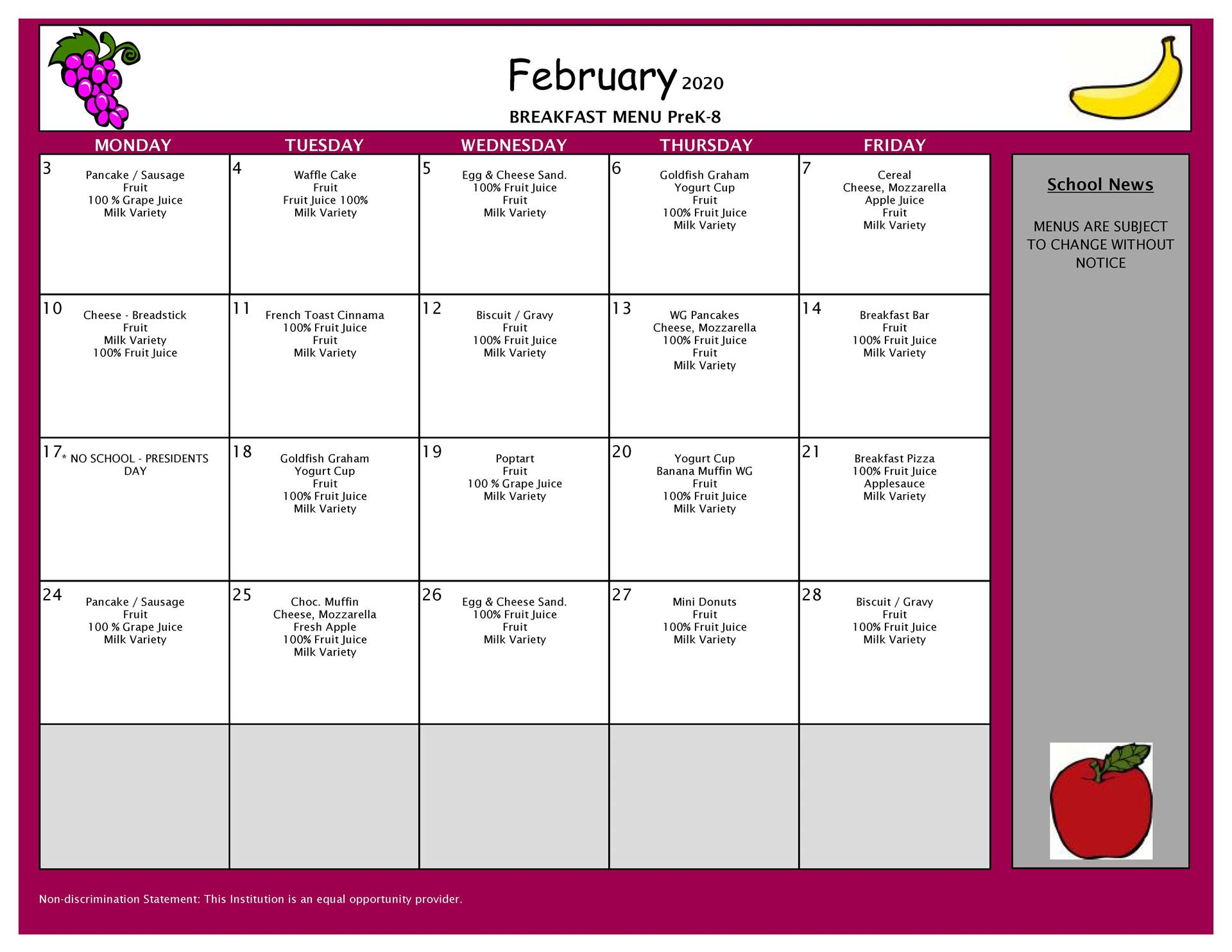 February Breakfast Grades PK-8