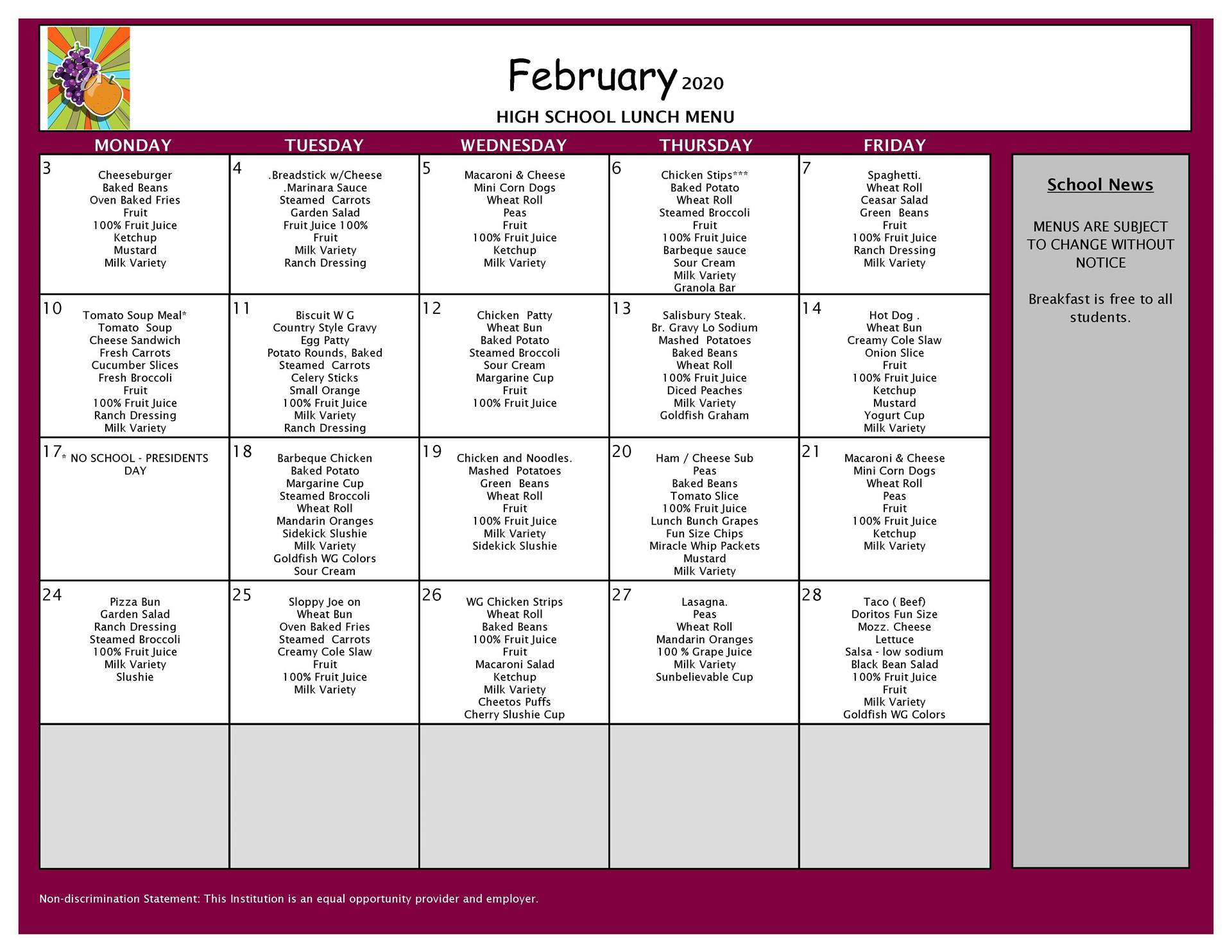 February Lunch Grades 9-12