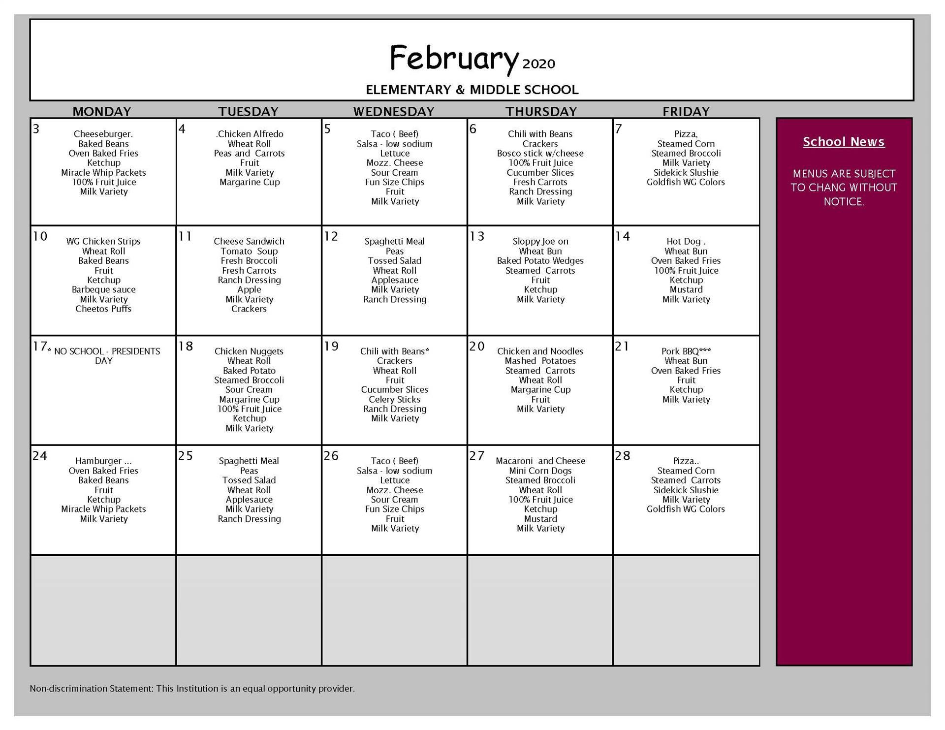February Lunch Grades PK-8