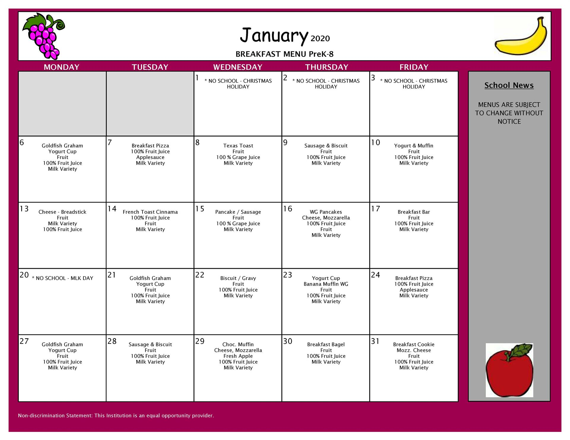 January Breakfast Grades PK-8